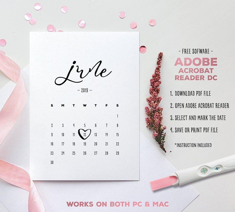 June 2019 Baby Due Date Calendar Template Editable | Etsy Free Printable Baby Due Date Calendar