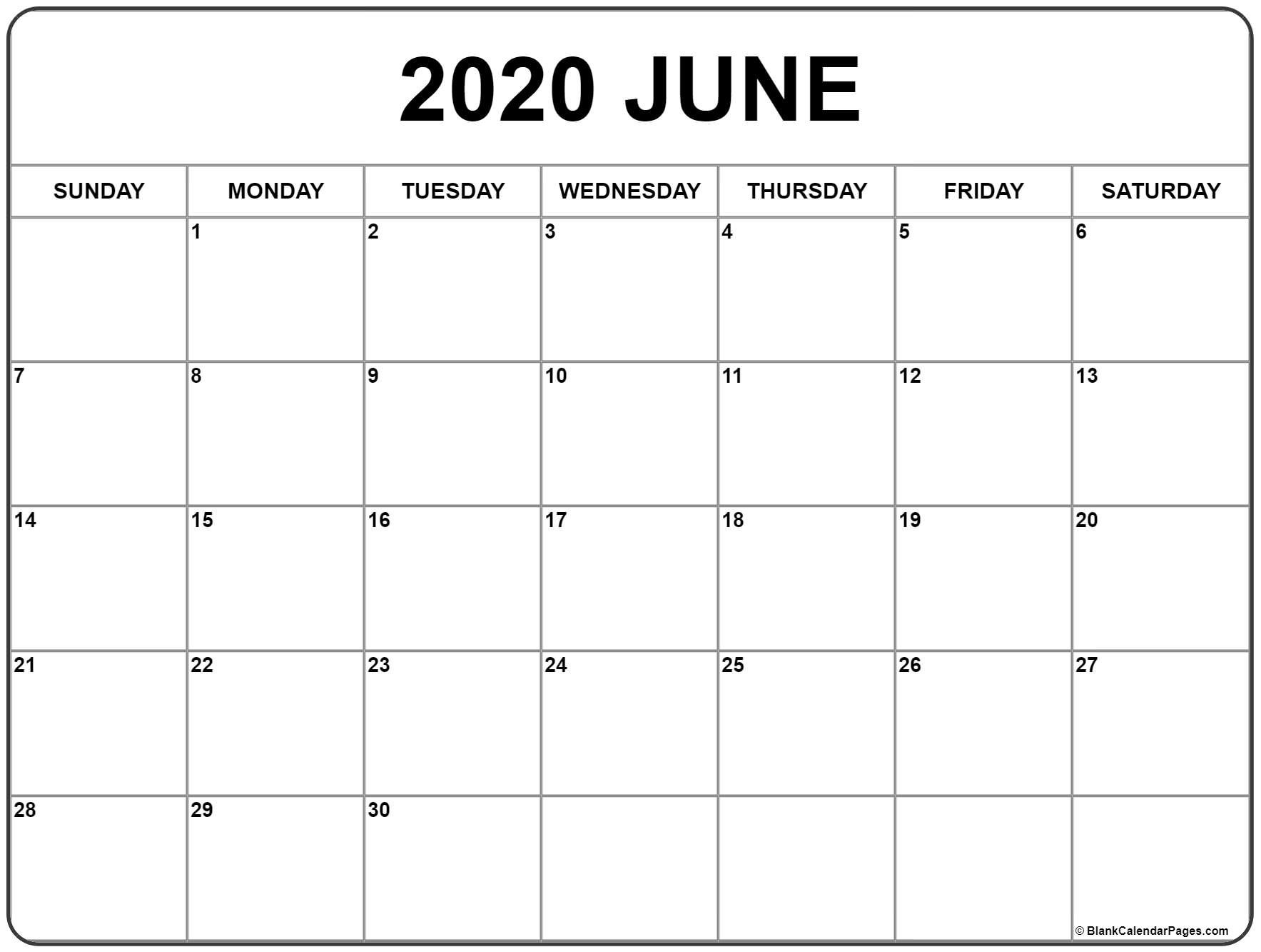 June 2020 Calendar | Free Printable Monthly Calendars How Can I Print Calendar To Fill In