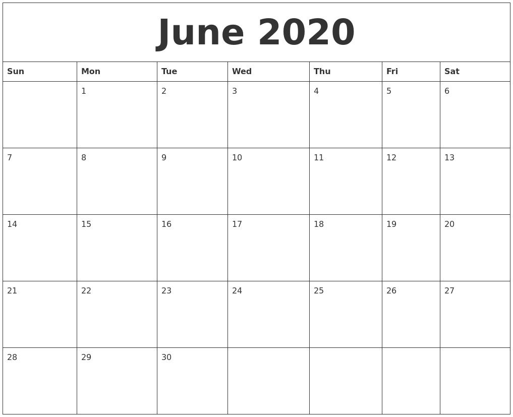 June 2020 Calendar, July 2020 Printable Calendar June Monday To Friday Downloadable Calendar