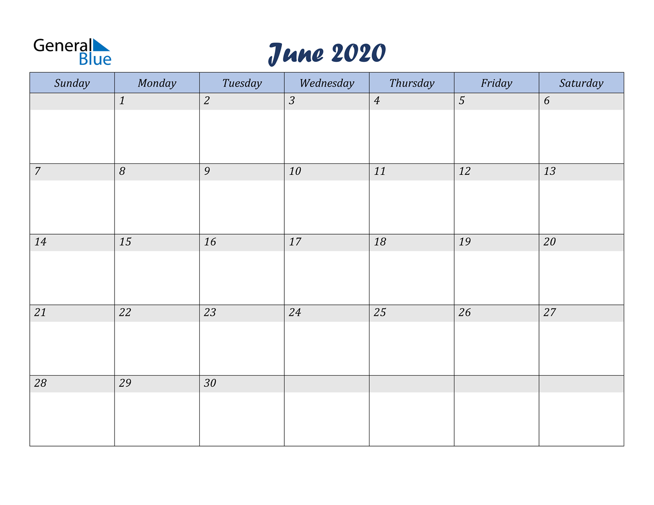 June 2020 Calendar - Pdf Word Excel Calendar That Can Be Edited