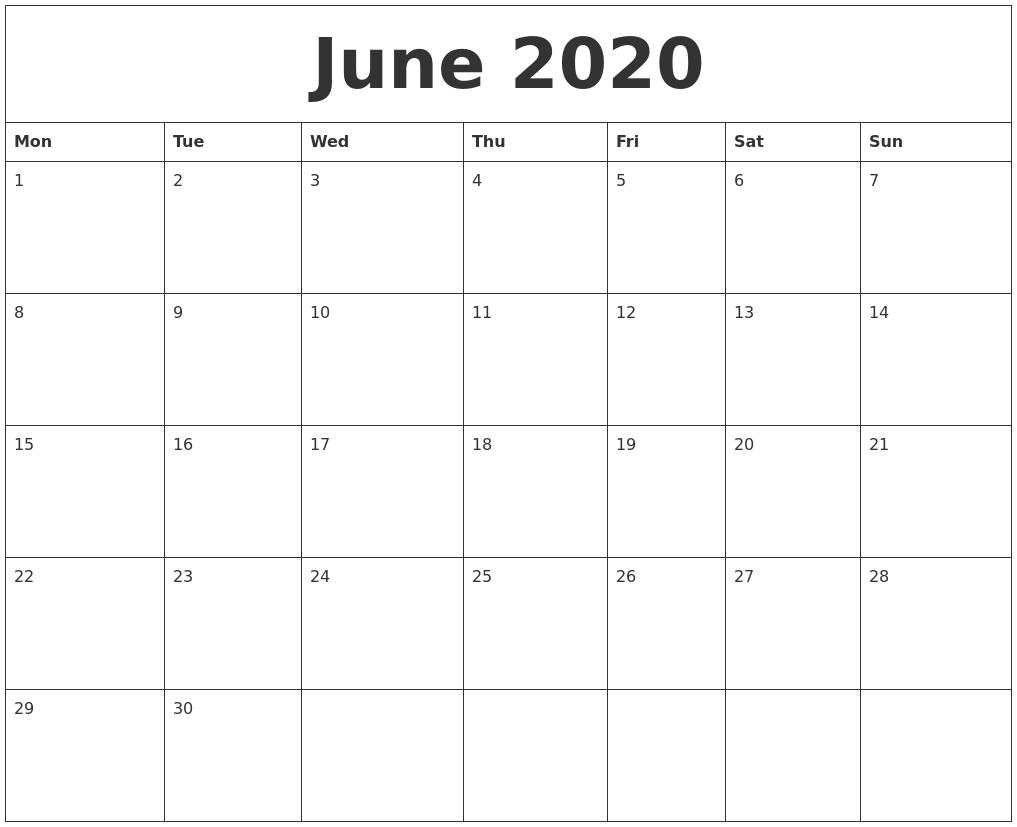 June 2020 Large Printable Calendar Free Printable Calendar Large Blocks