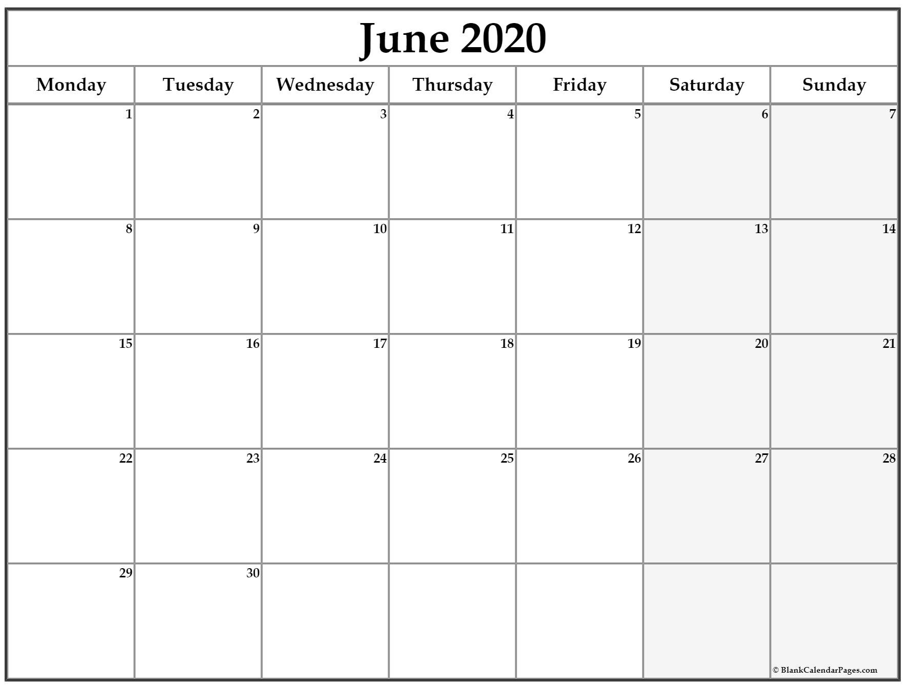 June 2020 Monday Calendar | Monday To Sunday June Monday To Friday Downloadable Calendar