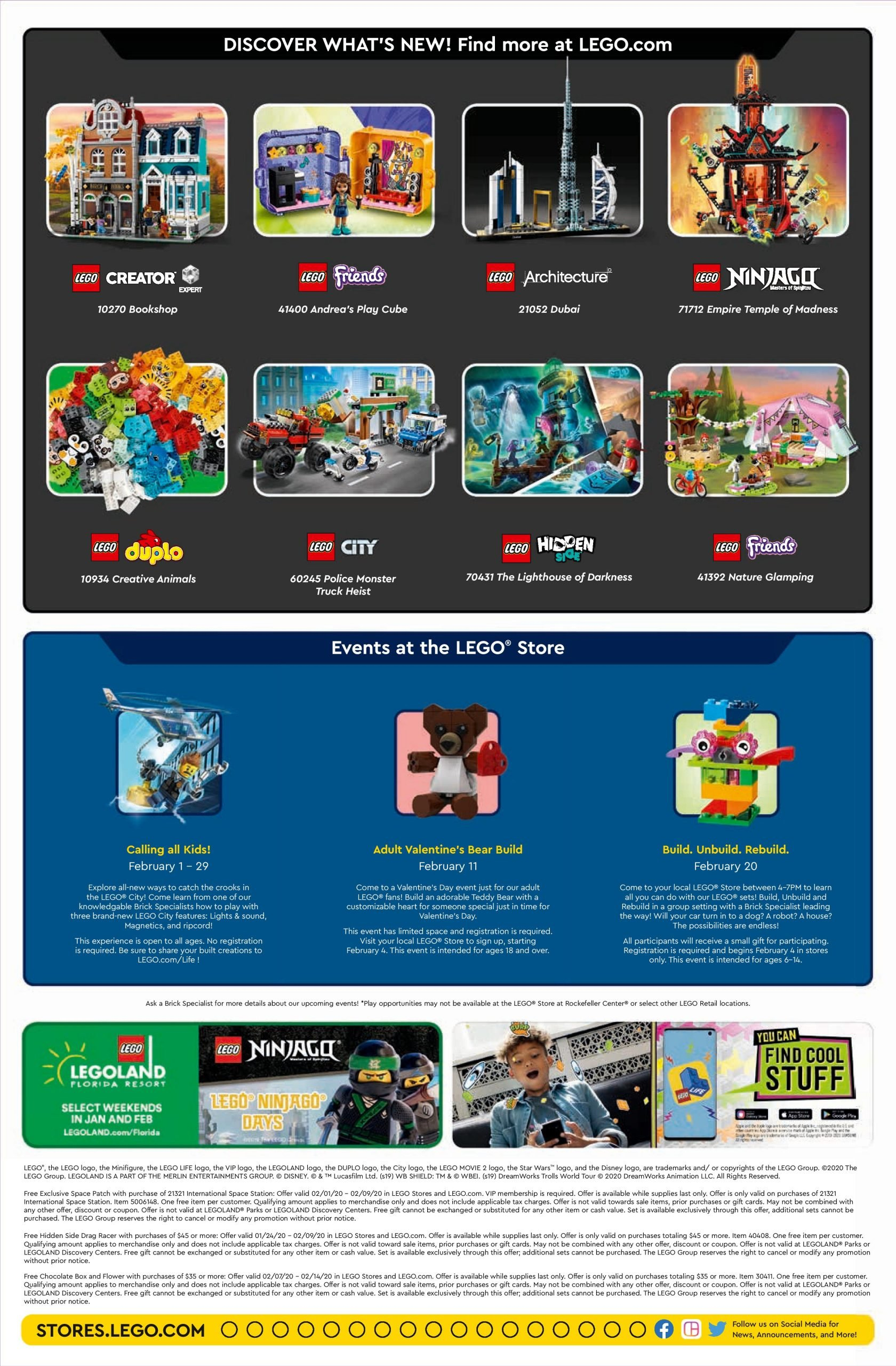Lego February 2020 Store Calendar Promotions & Events - The Calendar Three Monsts Temple