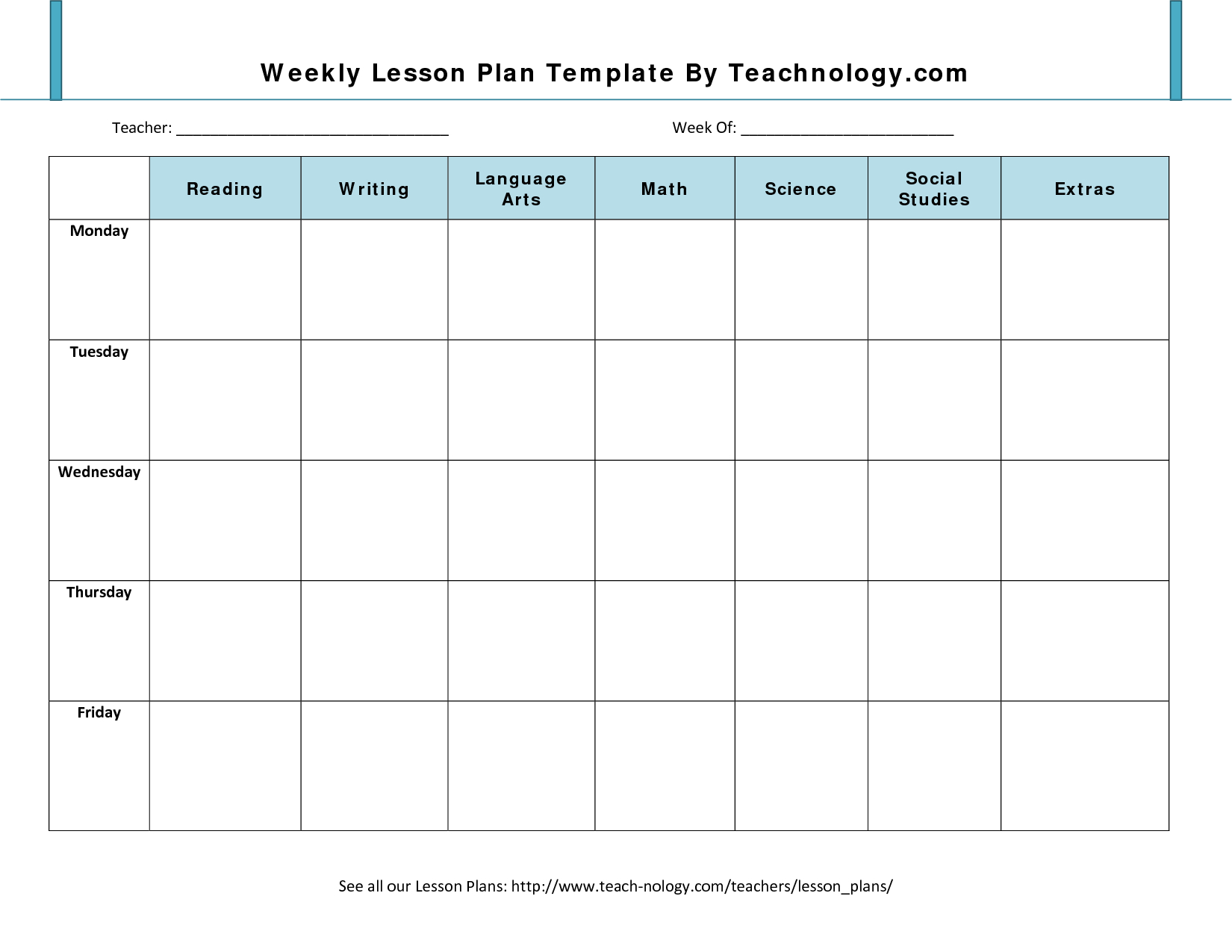 Lesson Plan Format 7 Weekly Lesson Plan Template For Lesson Plan Template Weekly Prescool Plannar