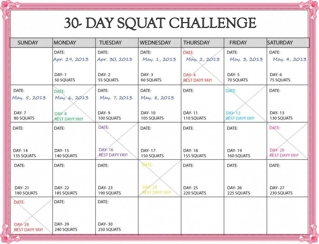 Lovely 30 Day Squat Challenge Printable Calendar (Dengan Gambar) Plank 30 Day Challenge Excel