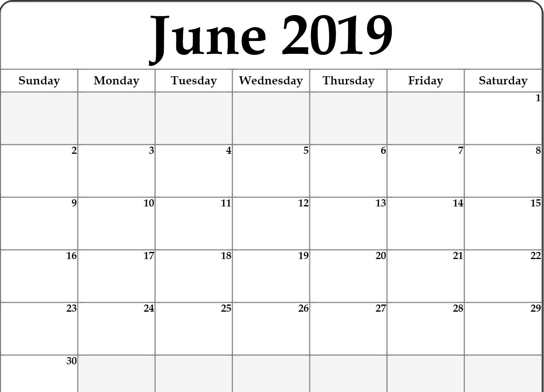 Lunar Calendar For June 2019 Printable Holidays Word June Monday To Friday Downloadable Calendar