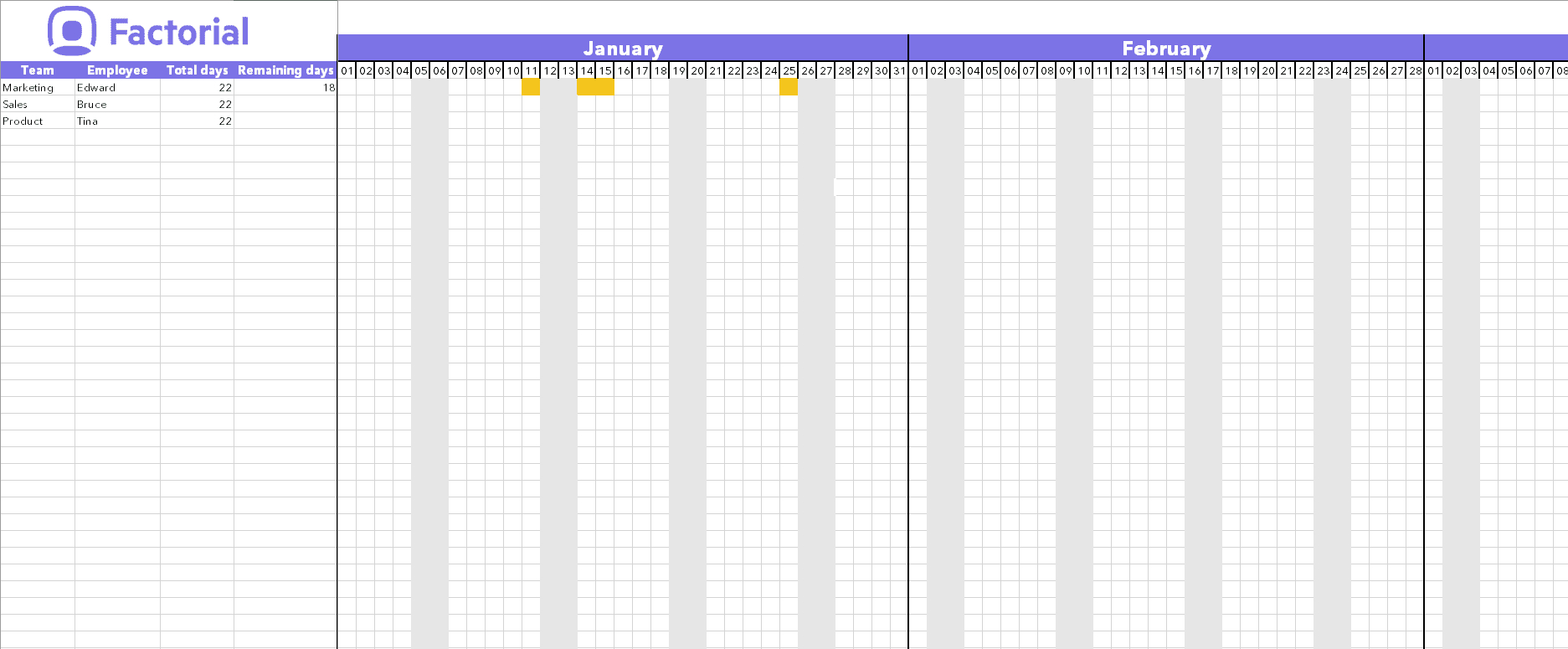 Manage Time Off Requests W/ Free Template | Factorial Printable Hr Annual Calendar For Time Off 2019