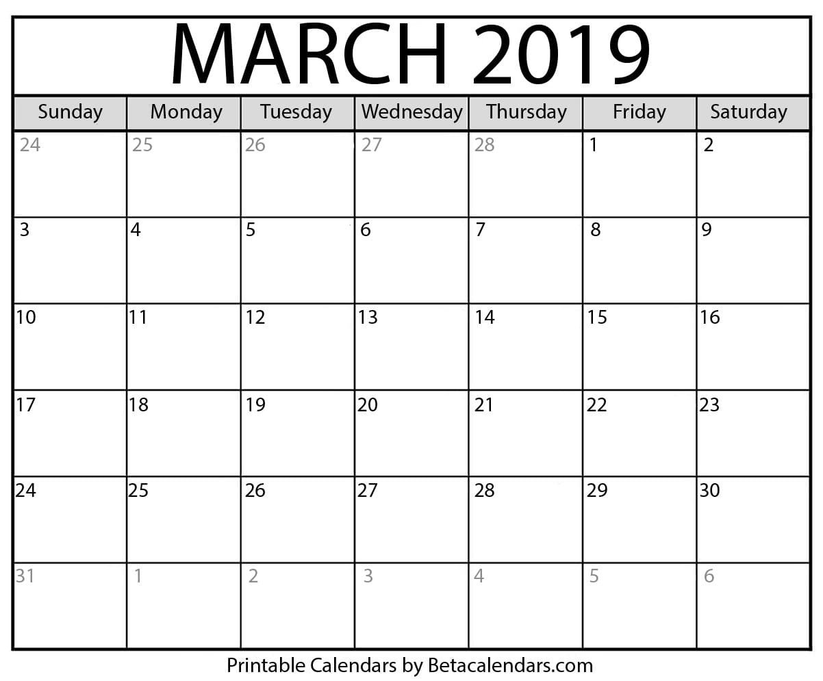 March 2019 Calendar - Mateo Pedersen - Medium March Last 2 Weeks Calendar