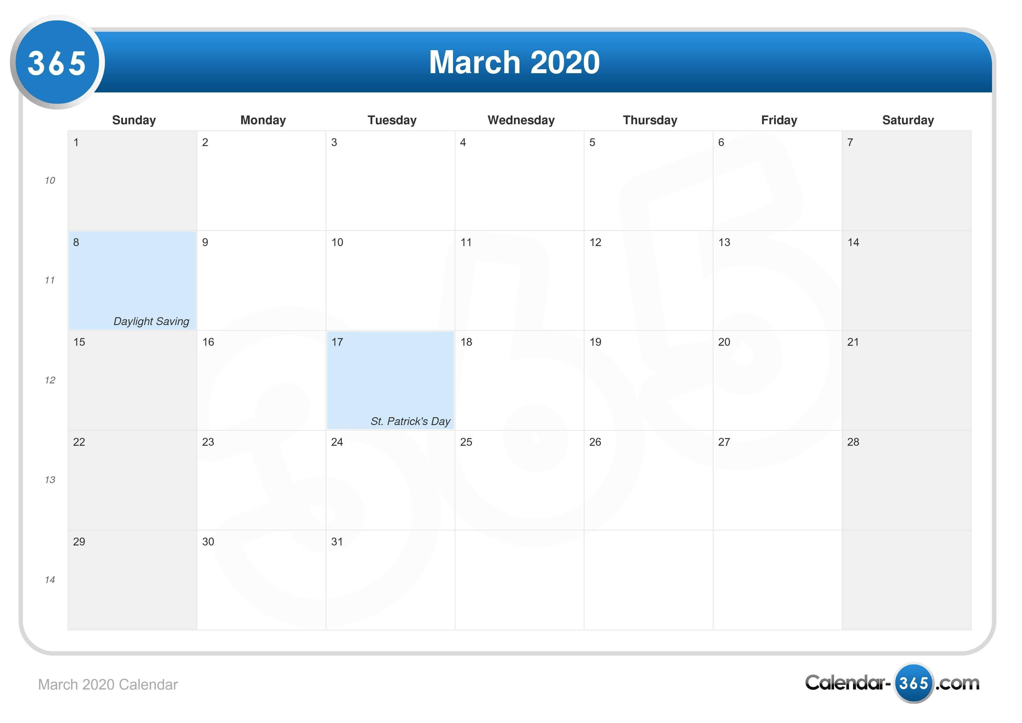 March 2020 Calendar March Last 2 Weeks Calendar