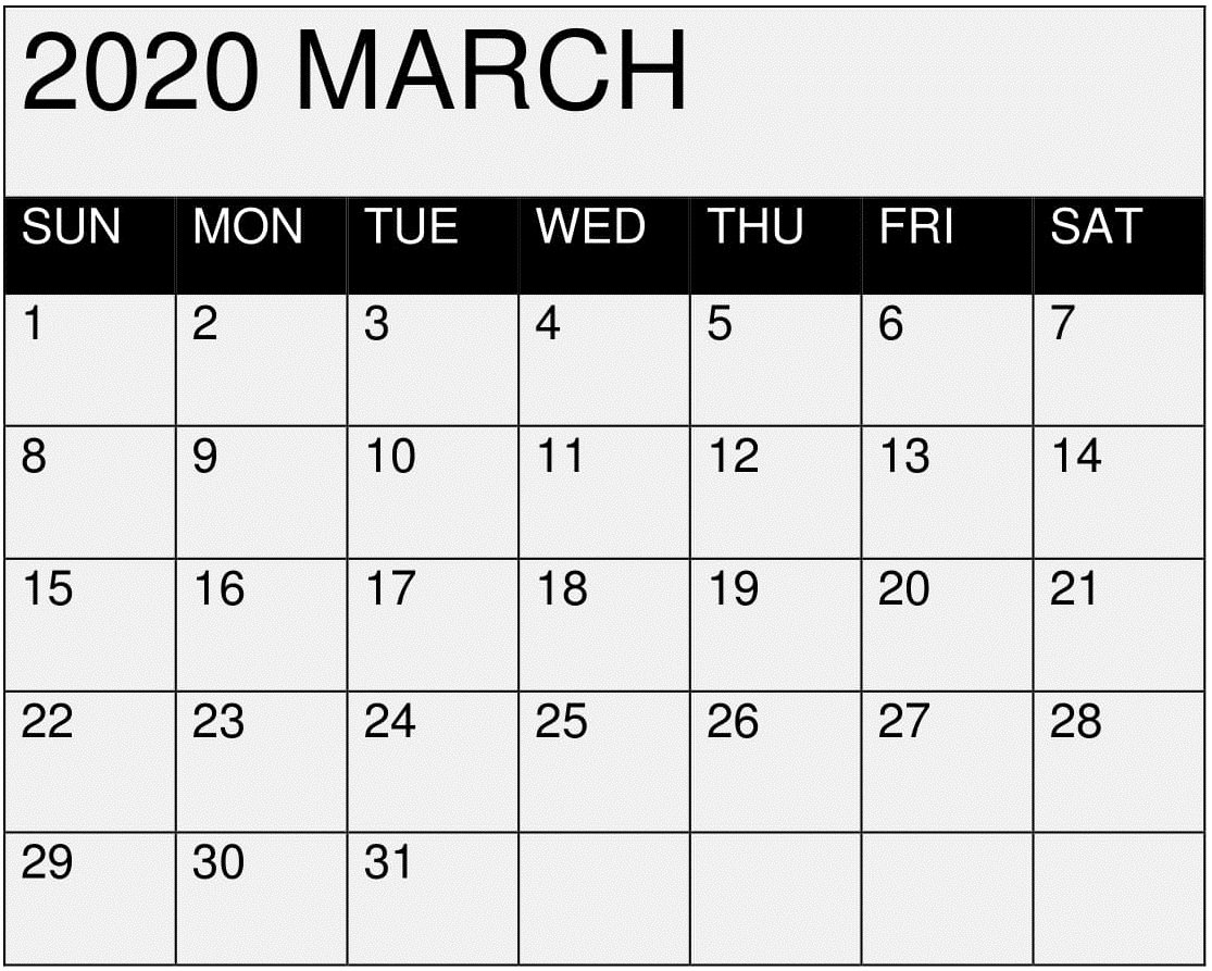March 2020 Calendar Printable Editablemonth - Latest I Need A Monthly Calendar That I Can Edit