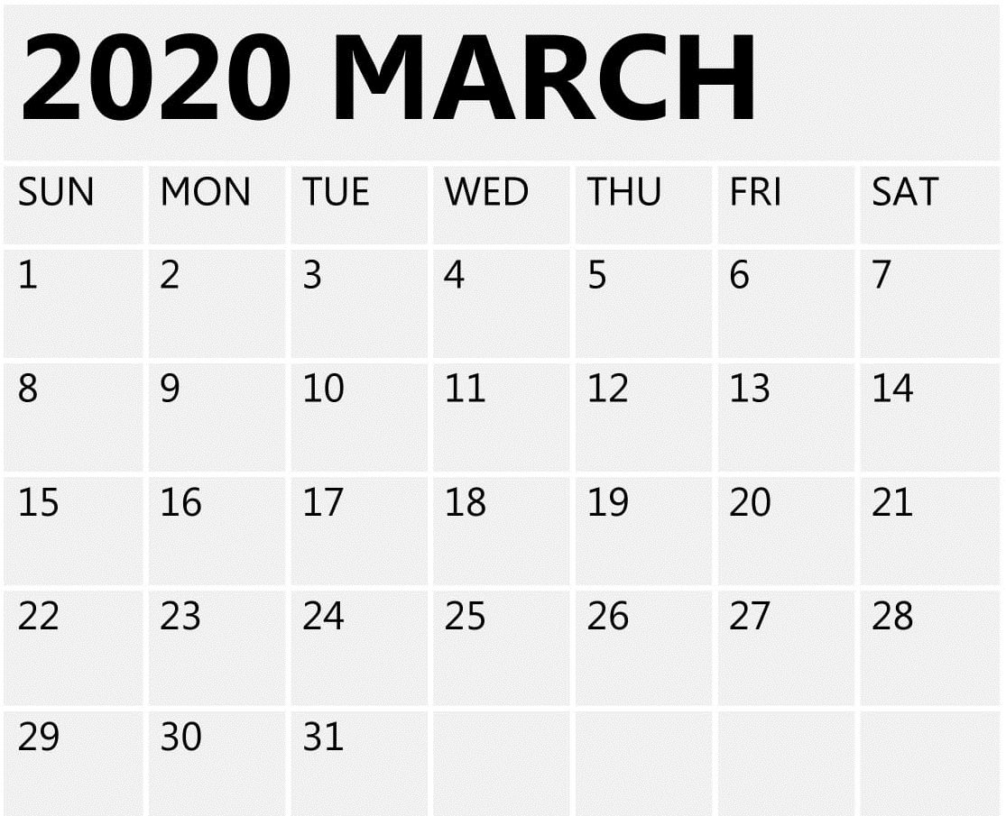 March 2020 Calendar Printable Free Blank Template - Free Aol Free Printable Calendar