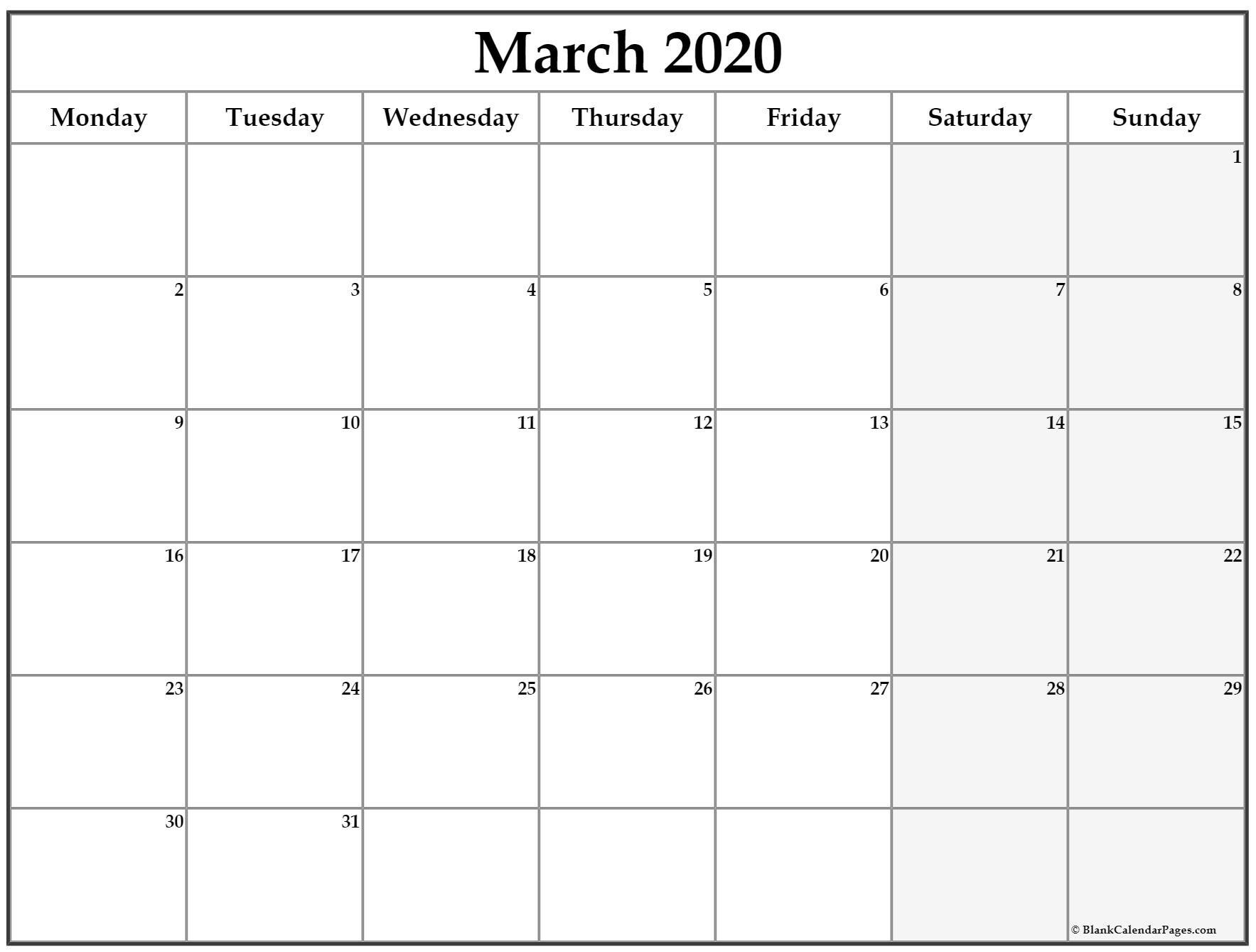 March 2020 Monday Calendar | Monday To Sunday Blank Monday Through Friday Month Calendar Template