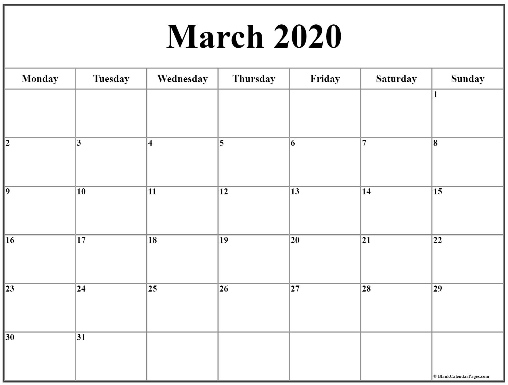 March 2020 Monday Calendar | Monday To Sunday Calendar Saturday To Friday