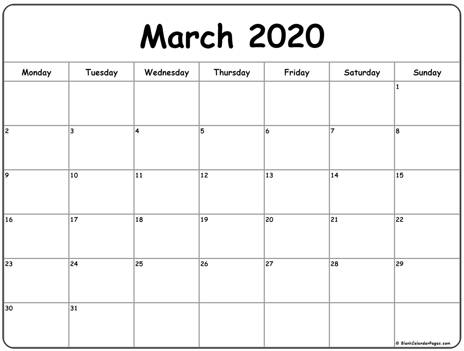 March 2020 Monday Calendar | Monday To Sunday Printable Calender For Mon Through Friday
