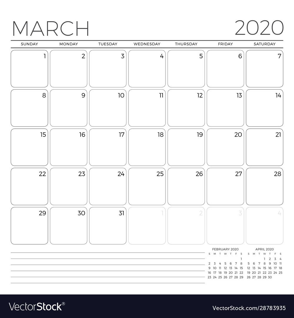 March 2020 Monthly Calendar Planner Template Monday Through Friday 8-5 Calendar
