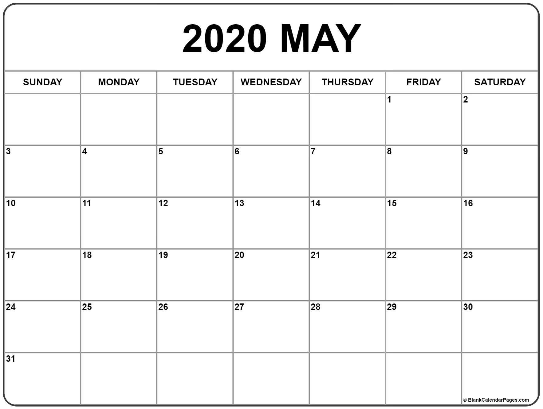 May 2020 Calendar | Free Printable Monthly Calendars Fill In Monthly Calendar Printable