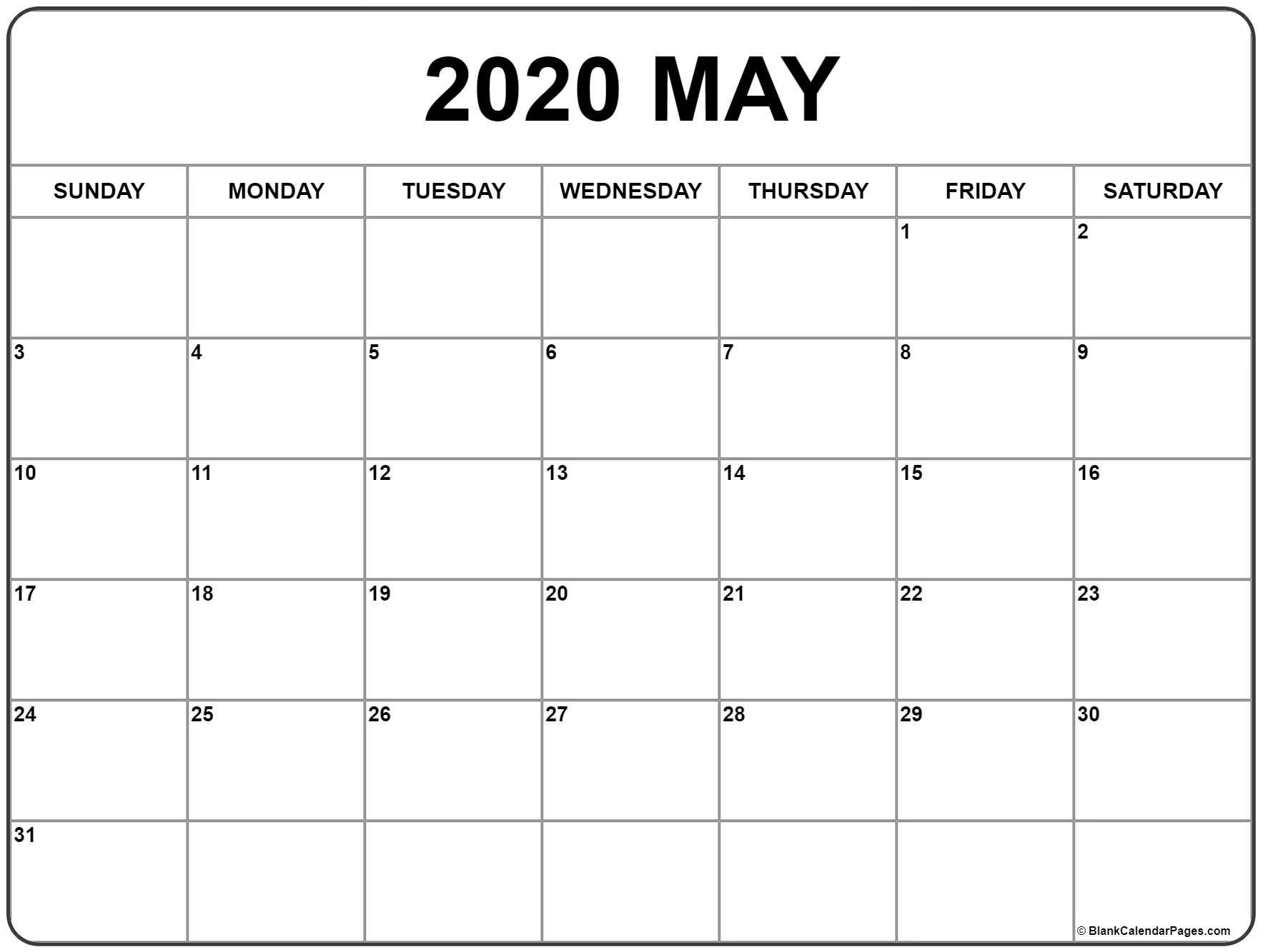 May 2020 Calendar | Free Printable Monthly Calendars Free No Download Printable Calendars