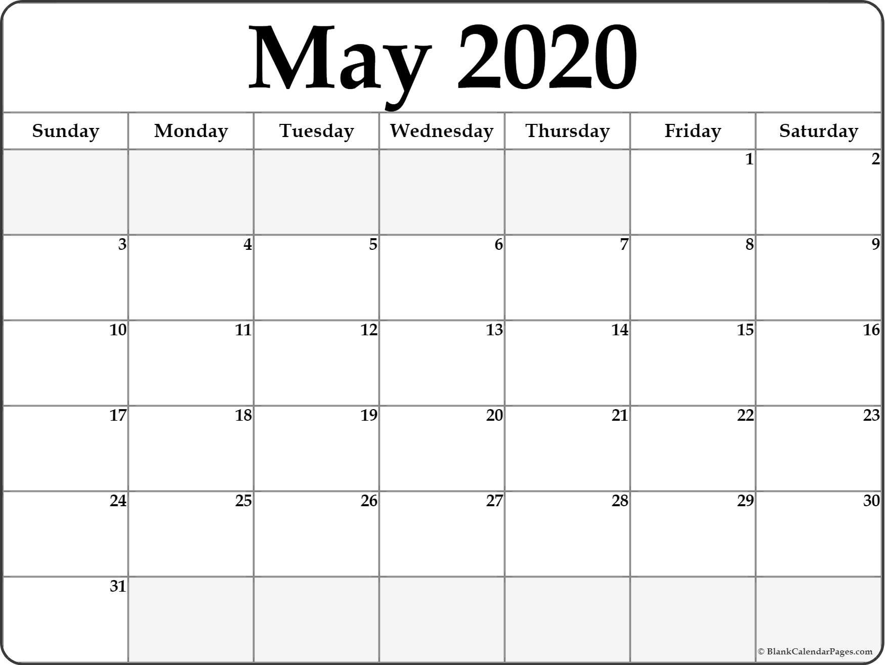 May 2020 Calendar | Free Printable Monthly Calendars How Can I Print Calendar To Fill In