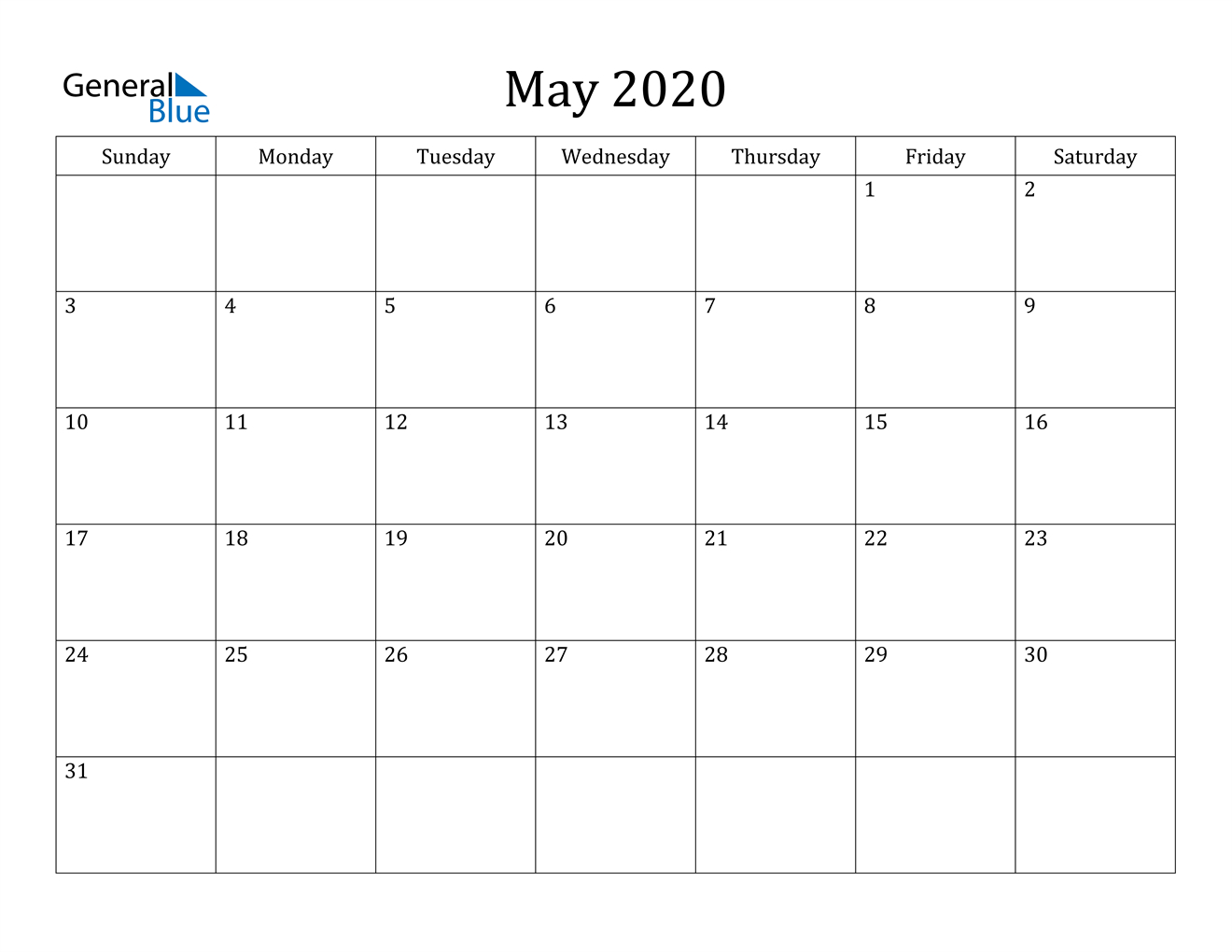 May 2020 Calendar - Pdf Word Excel Free Weekly Calander That You Can Edit