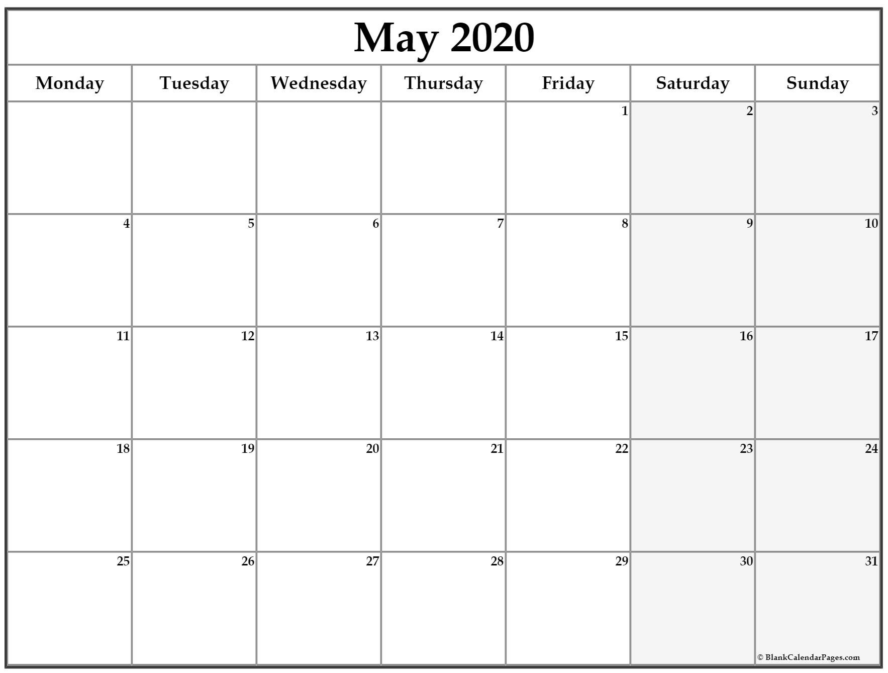 May 2020 Monday Calendar | Monday To Sunday Monday Thru Friday Calendsr