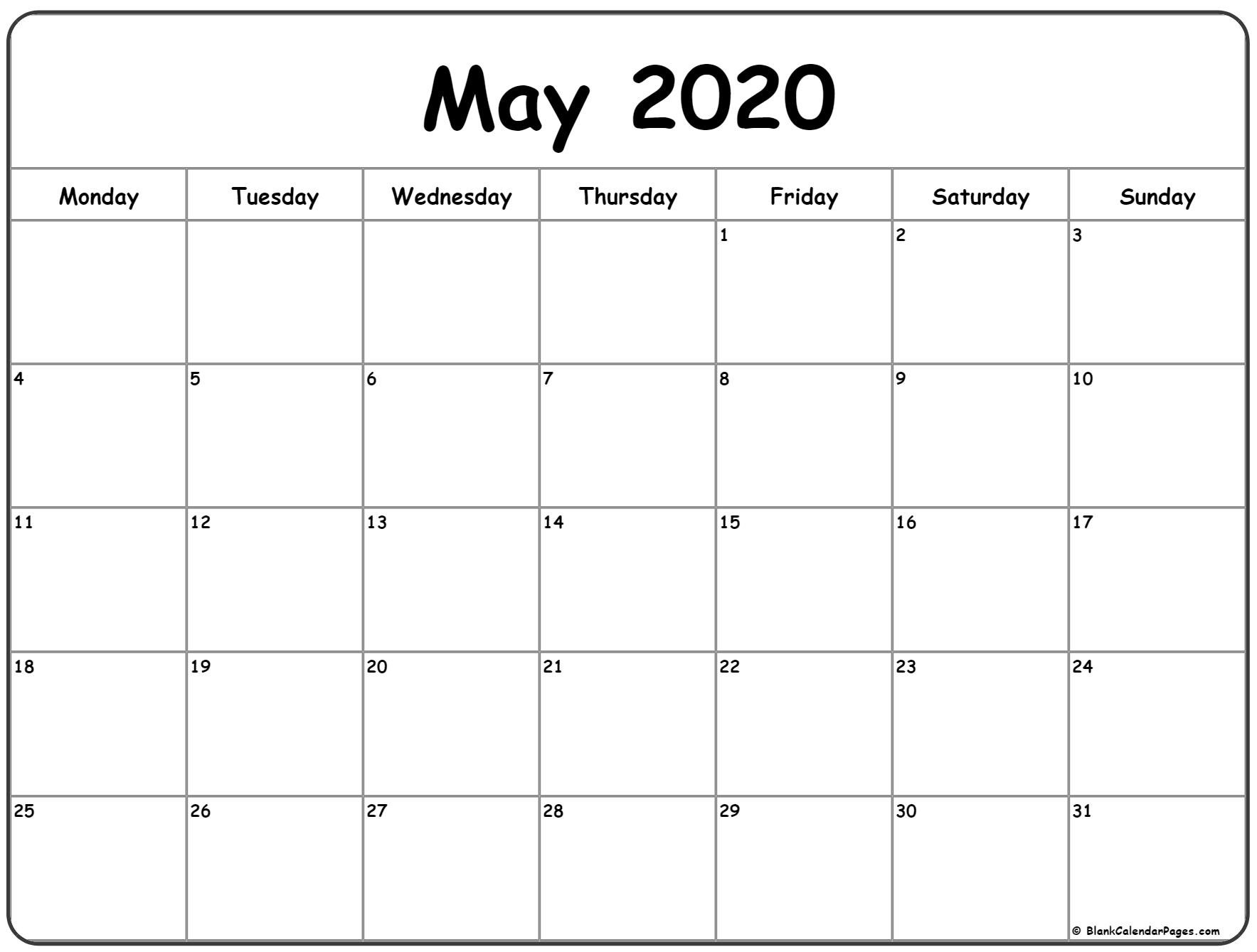 May 2020 Monday Calendar | Monday To Sunday Www.may Caldenar With Monday Thru Fri Dates