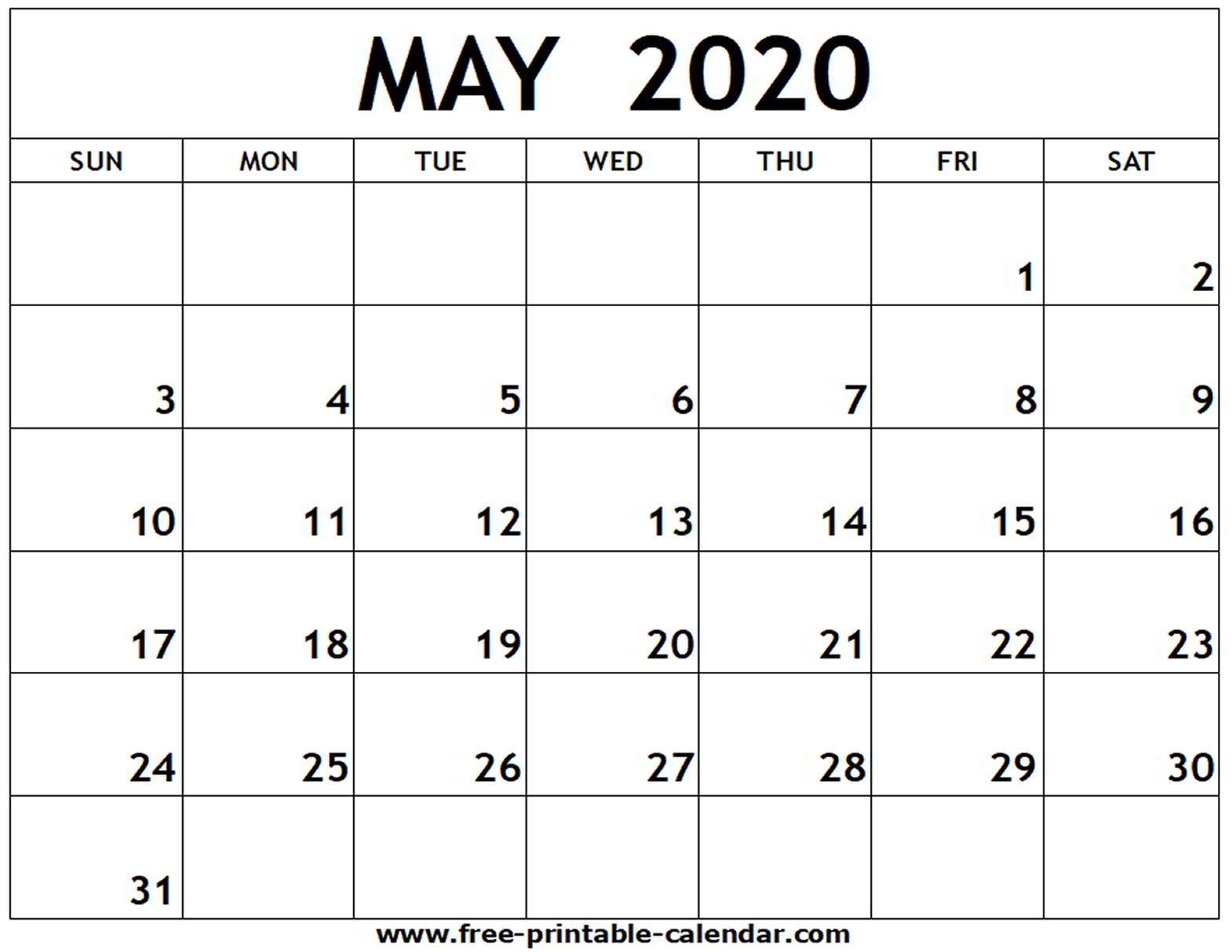 May 2020 Printable Calendar - Free-Printable-Calendar Calendar You Can Edit Free