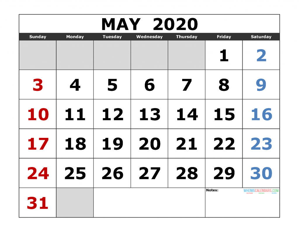 May 2020 Printable Calendar Template Excel, Pdf, Image [Us Large Printable Numbers For Calendar