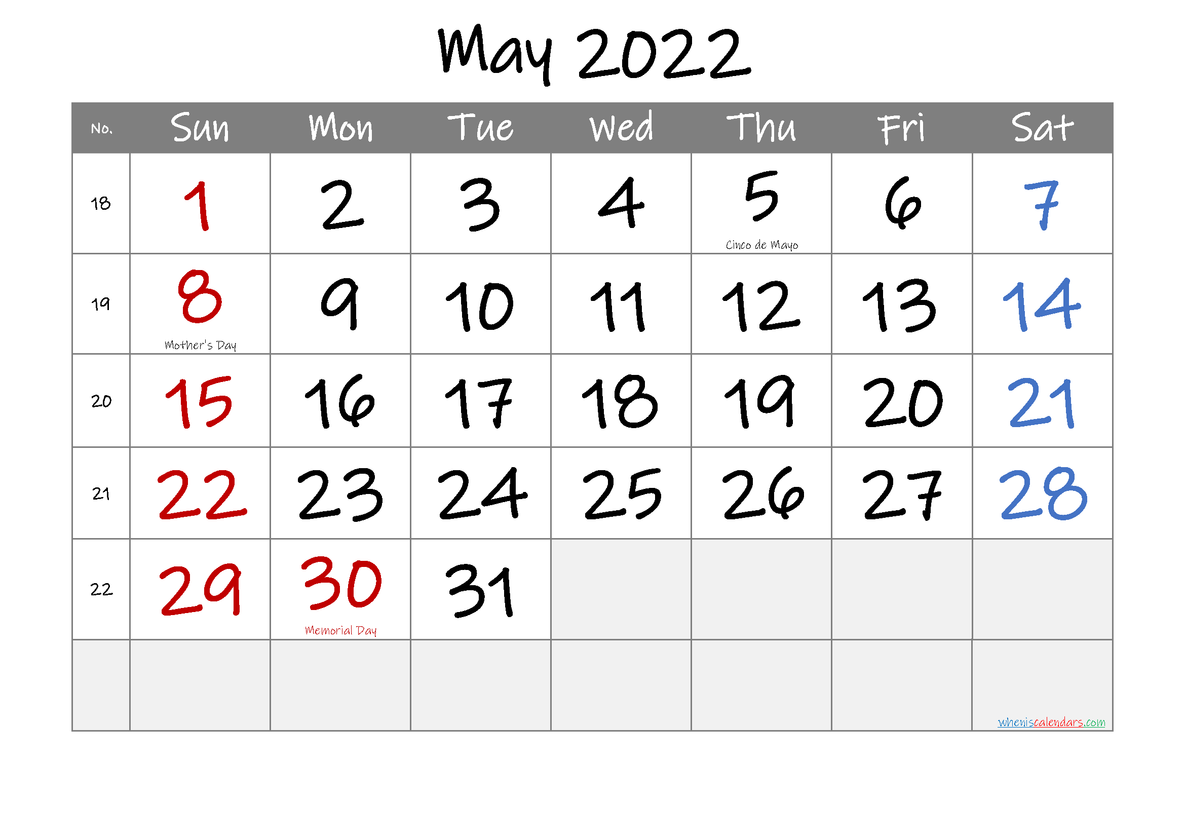 May 2022 Free Printable Calendar-Template No.if22M29 - Free Free Printable Calendars 8 Week