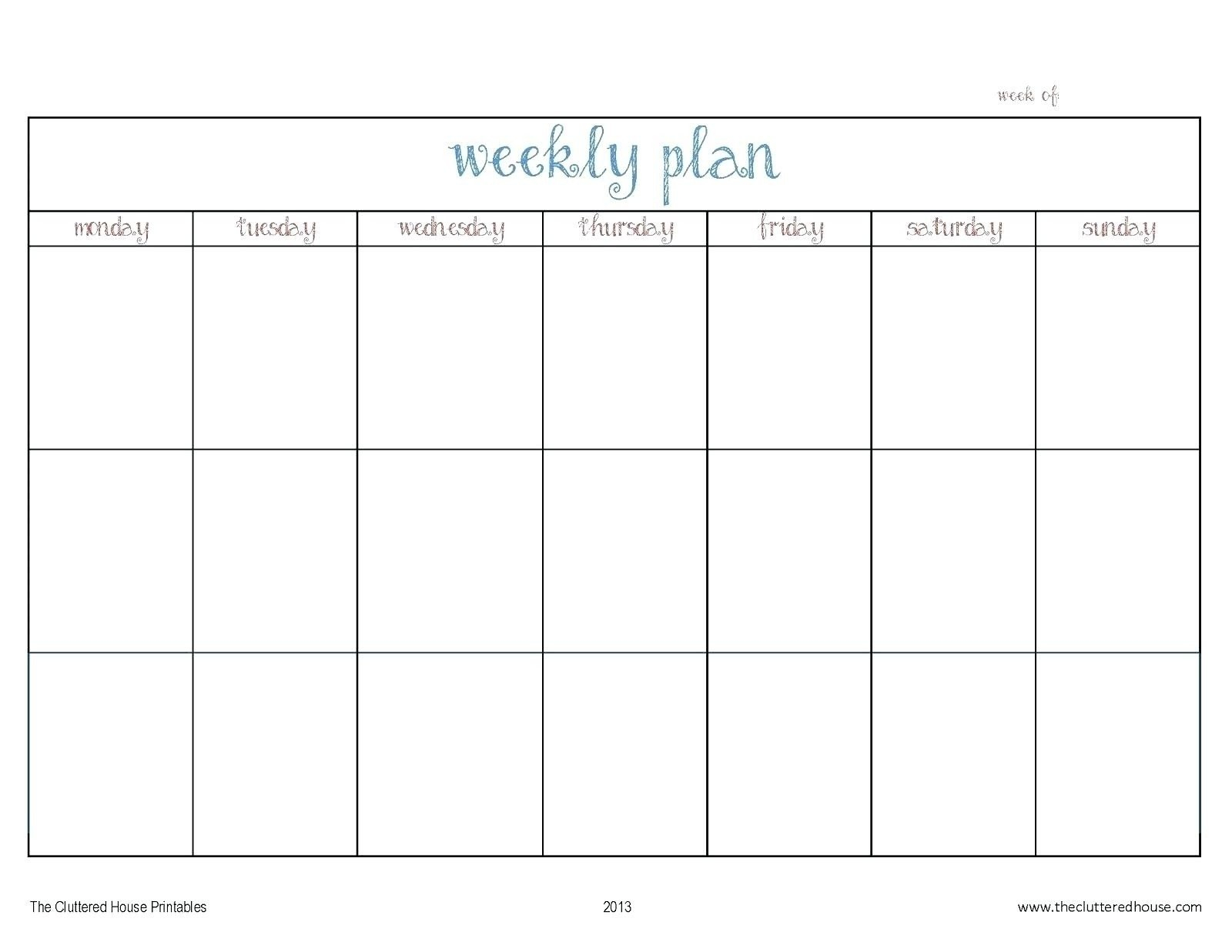 Monday Thru Friday Calendar Template | Ten Wall Calendar Free Printable Monday-Friday Calendar