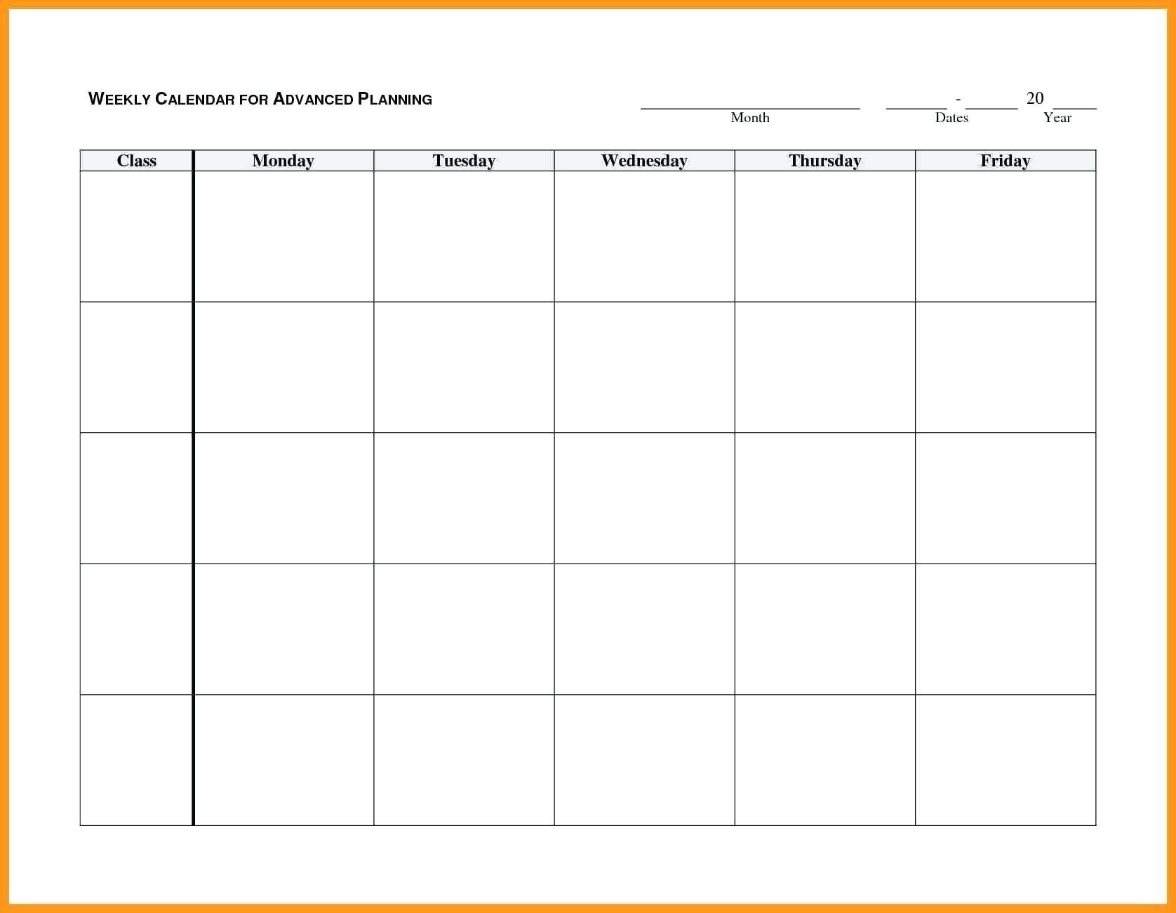 Monday To Friday Blank Calendar Printable | Example Calendar Blank Monday Through Friday Month Calendar Template