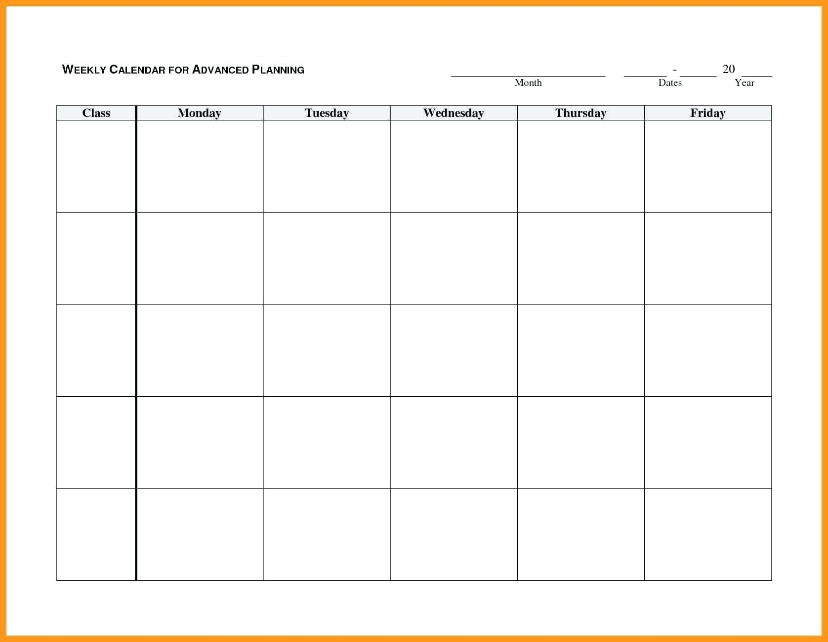 Monday To Friday Blank Calendar Printable | Example Calendar Calendar Monday To Friday