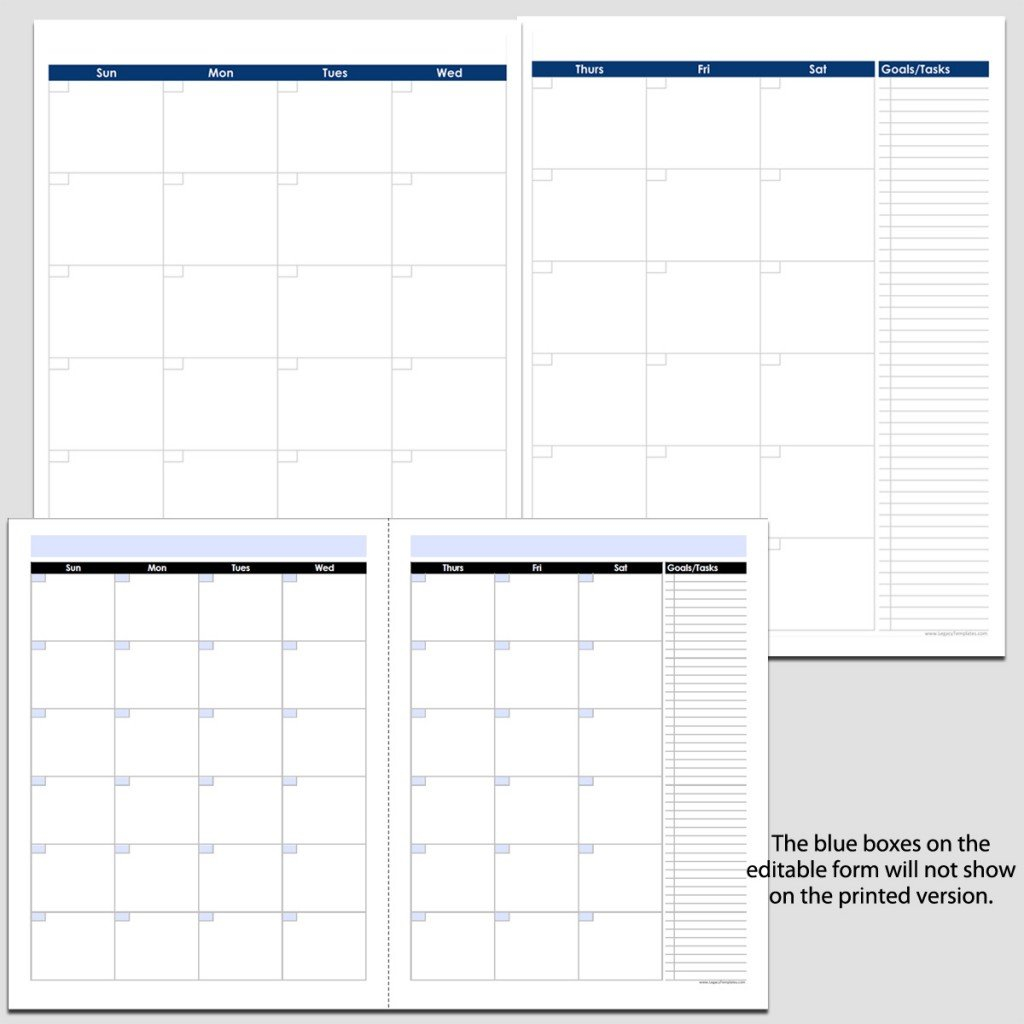 "Monthly 2-Page Perpetual Calendar With Tasks - 8 1/2"" X 11 Blank Calendar Template Printable 8 1/2 X 11"