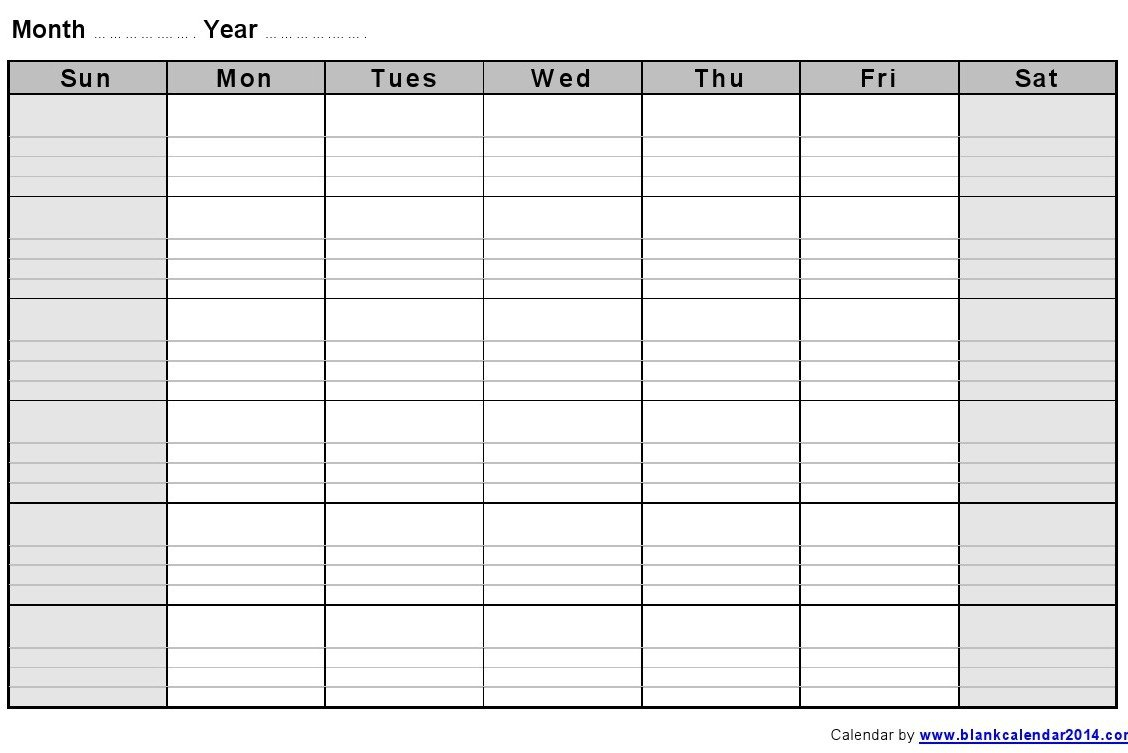 Monthly-Blank-Formatted-Weekly-Calendar-Template Printable Lined Calendar Template