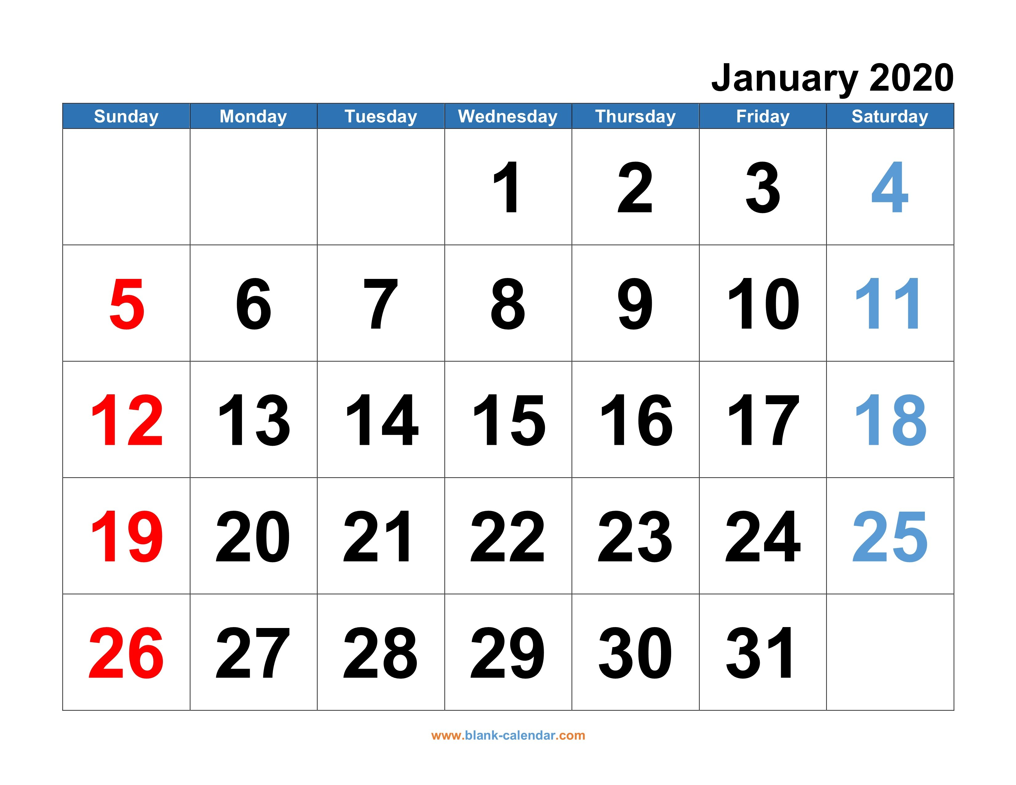 Monthly Calendar 2020 | Free Download, Editable And Printable Free Calendars You Can Edit