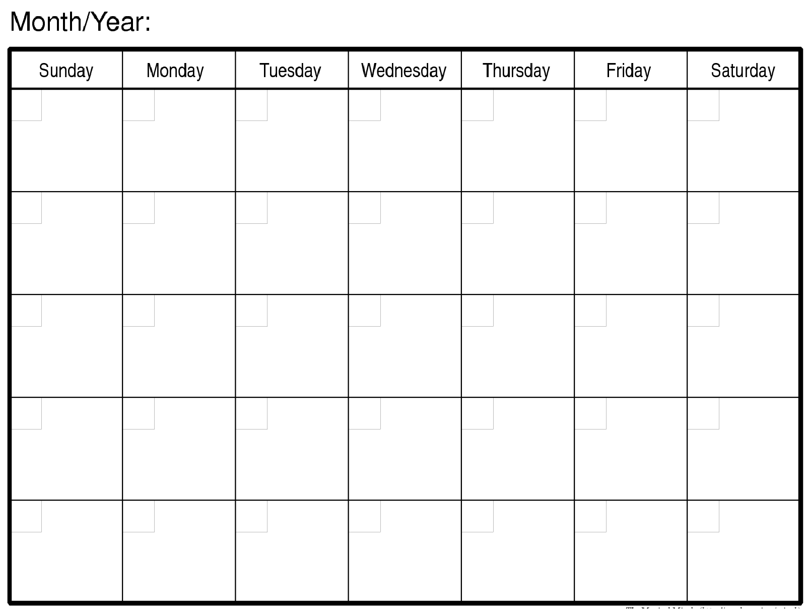 Monthly Calendar | Turexa | Blank Monthly Calendar, Monthly Blank Monday Through Friday Month Calendar Template