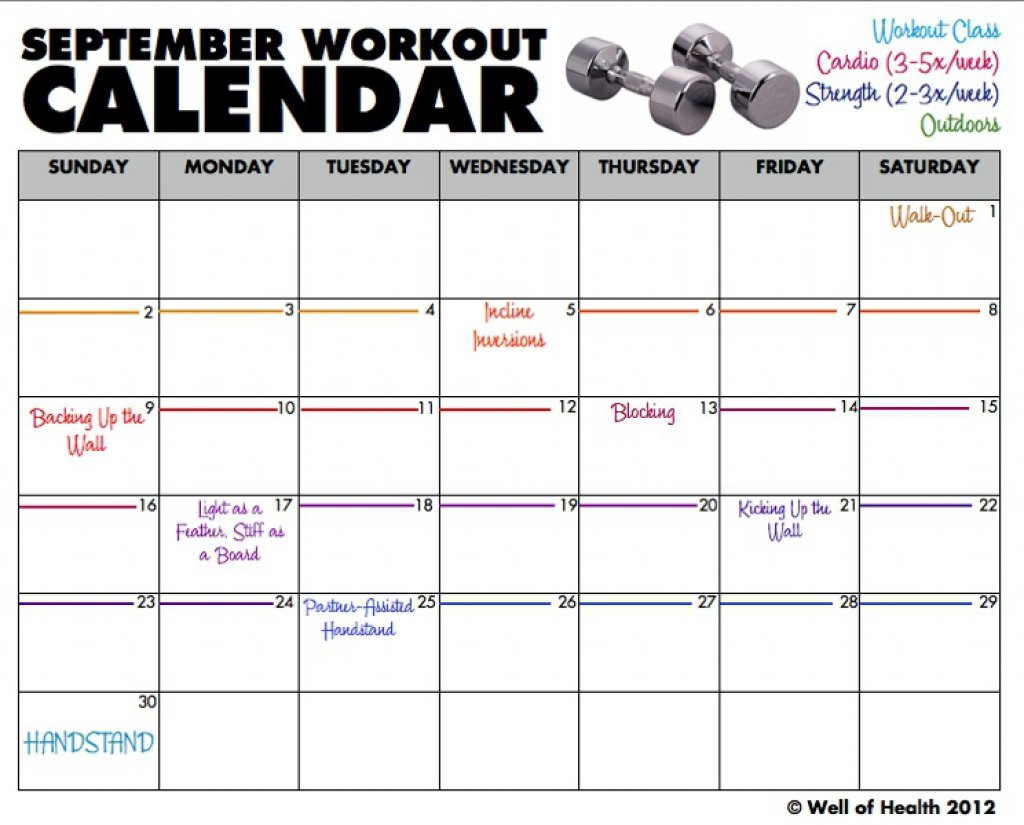 Monthly Exercise Calendar – Printable Week Calendar Fillable Calendar For Excercise