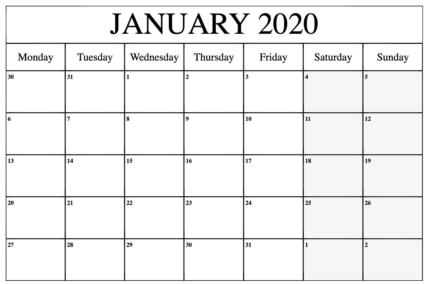 Monthly January 2020 Calendar Printable Pdf Word Excel Monday-Friday Calendar Template Word