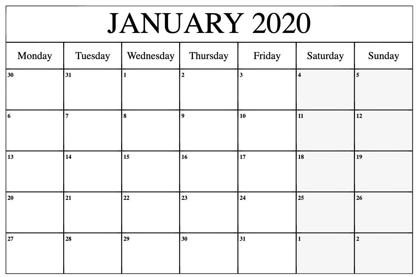 Monthly January 2020 Calendar Printable Pdf Word Excel Monday Through Sunday Calendar Word