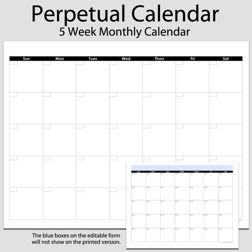 Monthly Perpetual Calendar In Landscape – 8 1/2″ X 11 Blank Calendar Template Printable 8 1/2 X 11