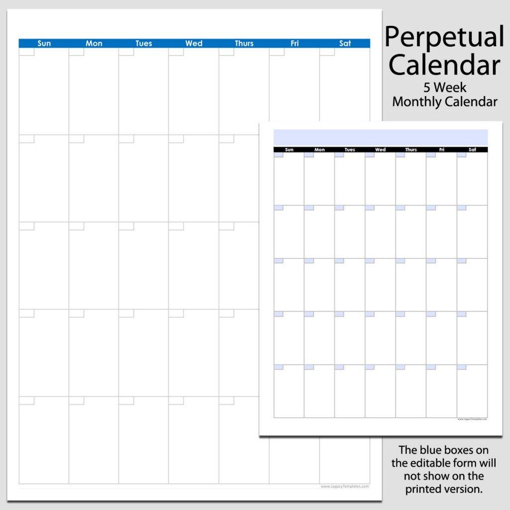 Monthly Perpetual Calendar In Portrait – 8 1/2″ X 11 8 1/2 X 11 Blank Calendar Pages