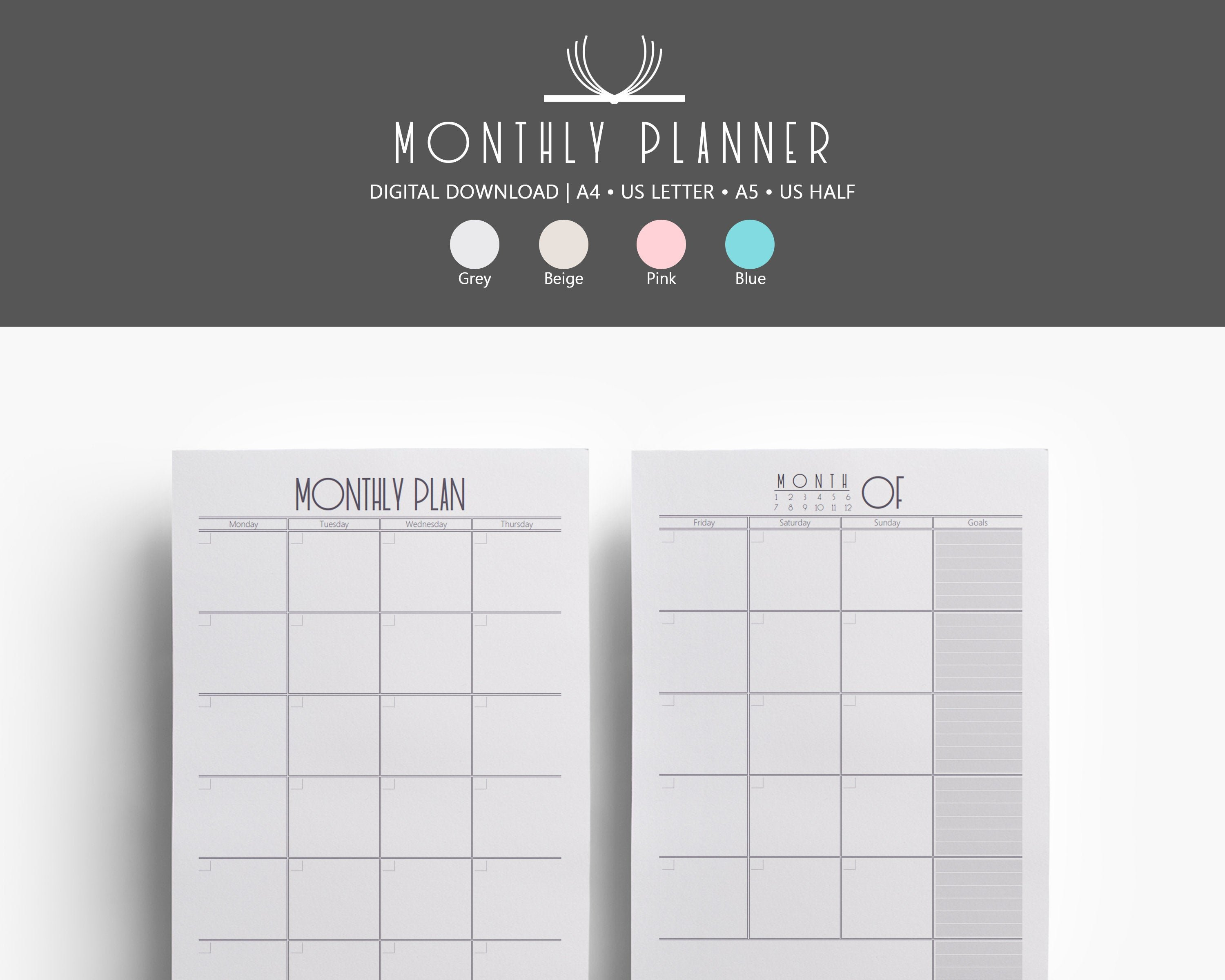 Monthly Planner, Basic Monthly Printable, Half Size, Calendar Agenda  Organizer, Journal Inserts, Webster Pages, Discbound, Filofax Refills Show Me Monthly Calendars With Agenda Pages That Are 5.5X8.5