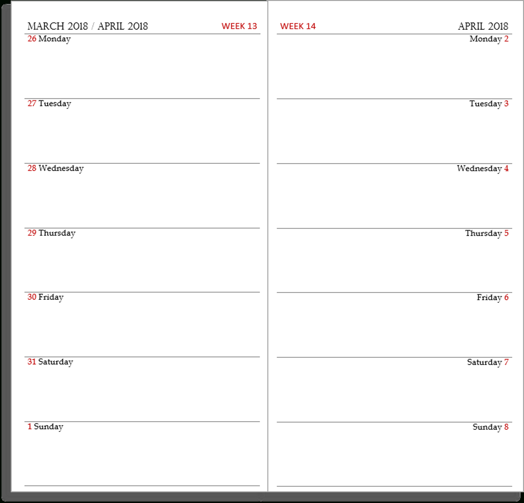 My Life All In One Place: Free Midori Tn Calendar (Diary Layout For Two Week Calendar