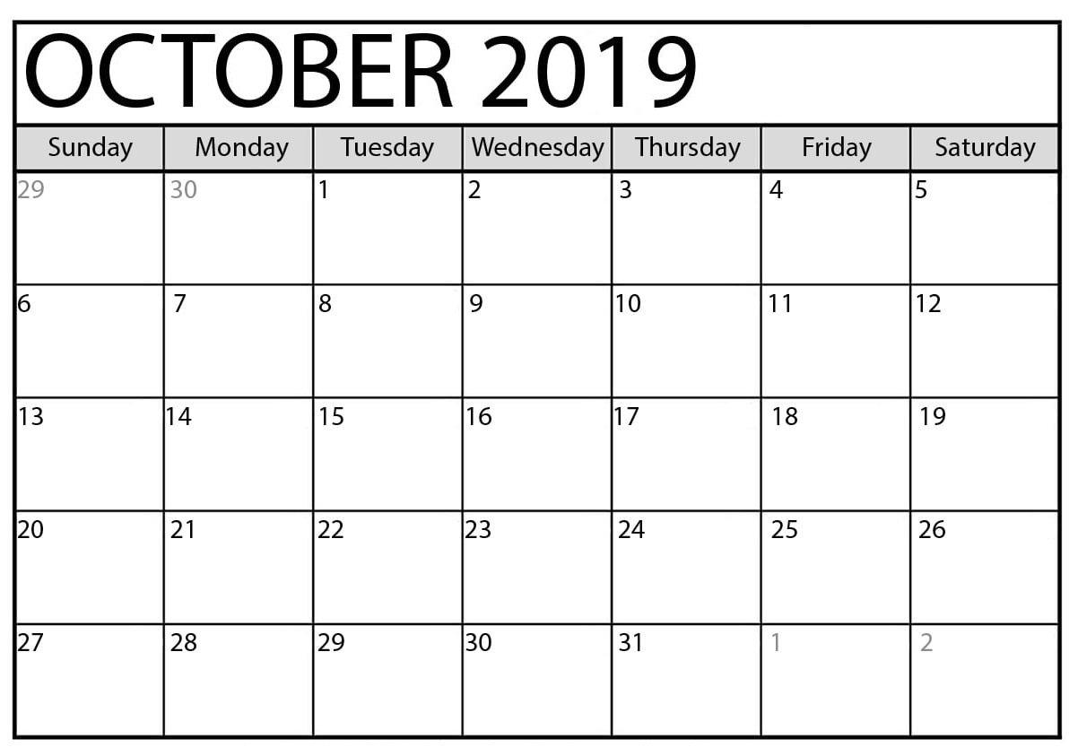 October 2019 Calendar Printable Word Template - Latest Fillable Calendar For Excercise