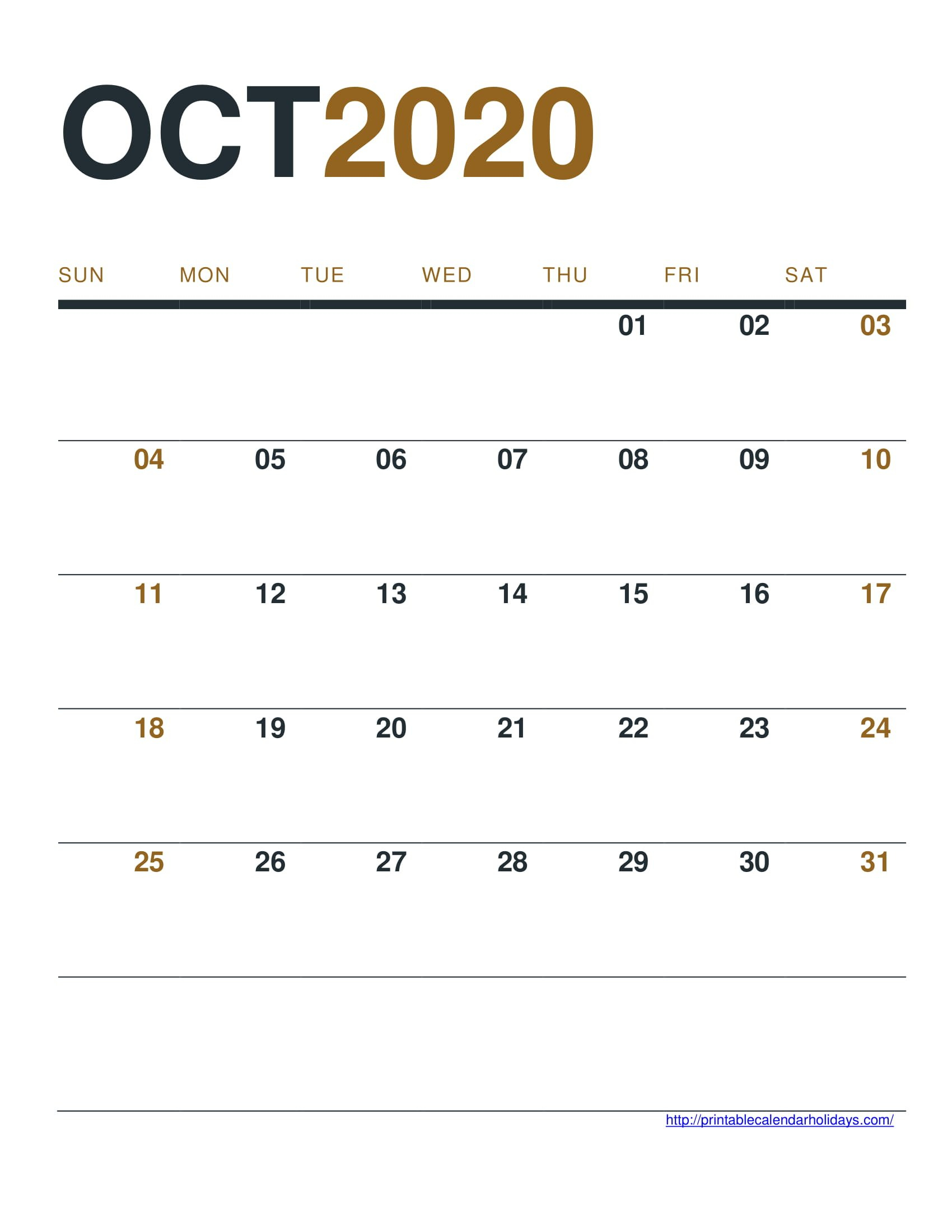 October 2020 Calendar Printable Free - Printable Calendar Free Calendar To Edit And Save