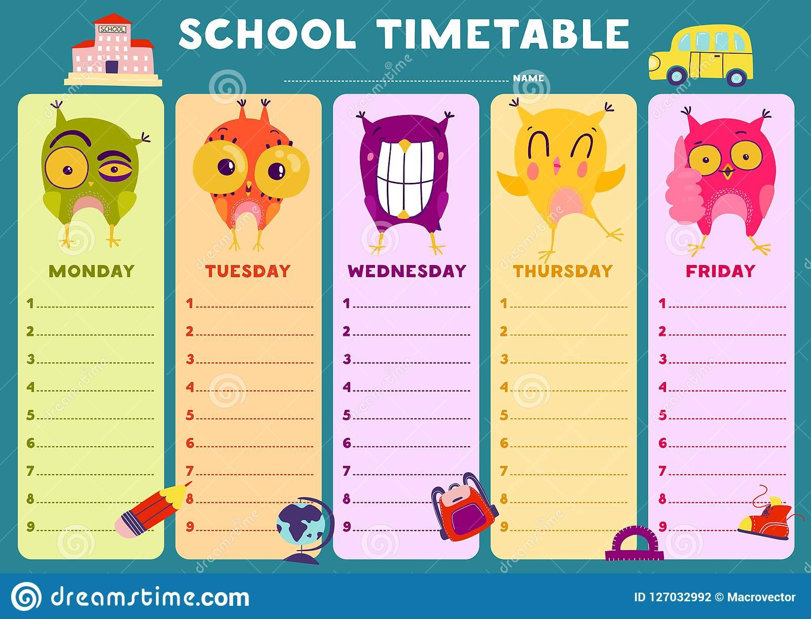 Owl Timetable Template Stock Vector. Illustration Of Blank Monday To Friday Timetable