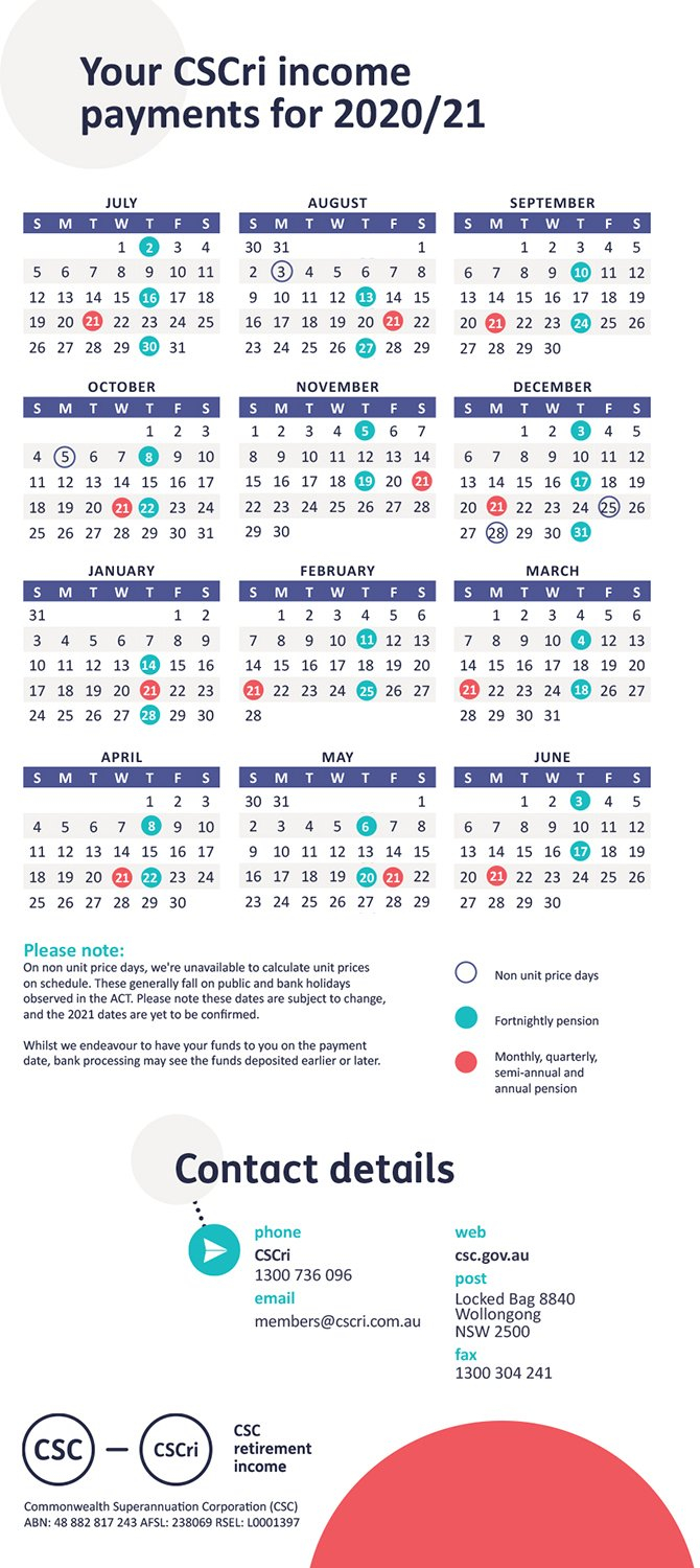 Payday | Pensioner | Retirement | Members - Csc 5 Year Retirement Calendar