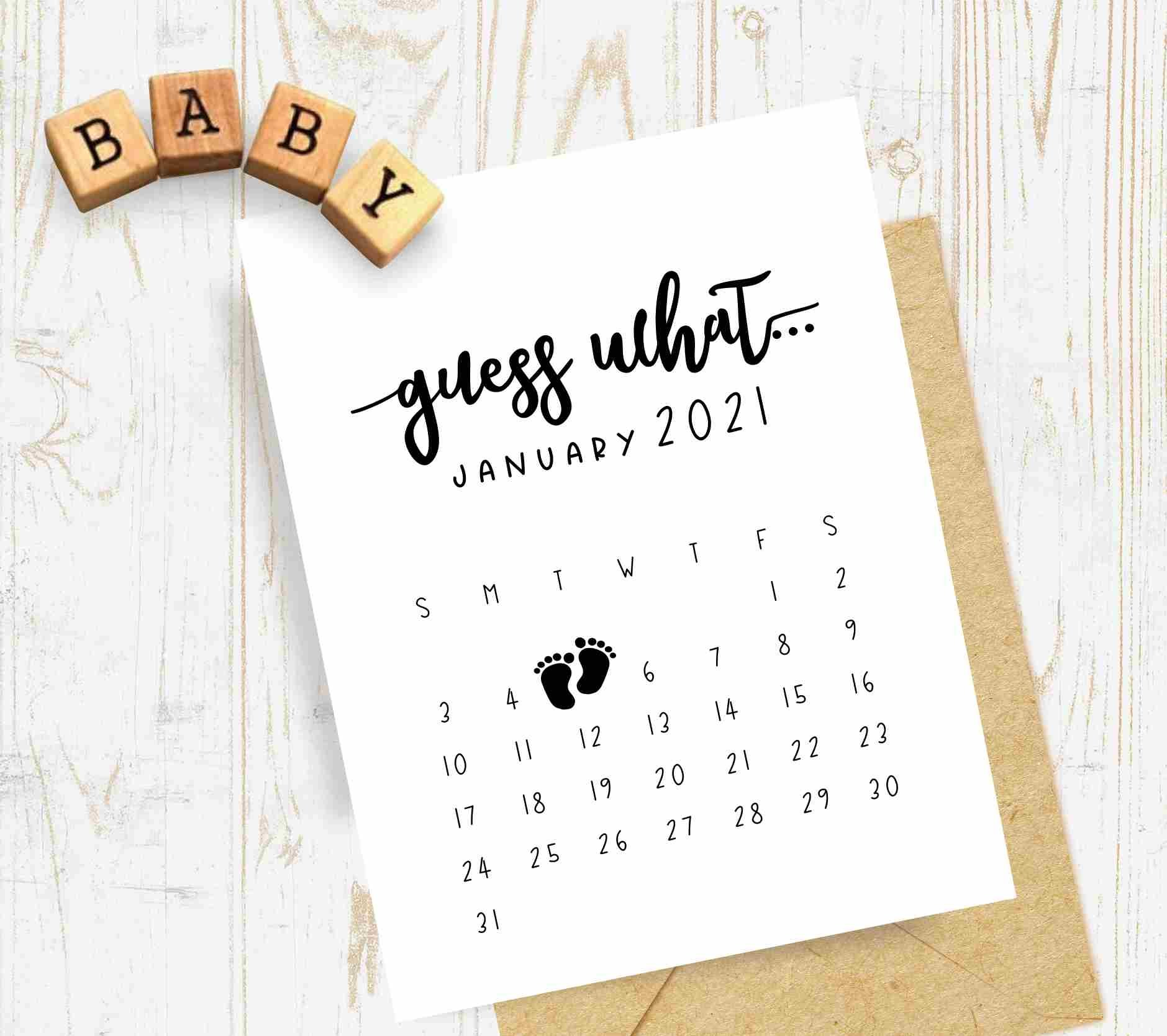 Pregnancy Announcement Calendar – Personalized Guess What Calendar Guess The Due Date Printable Calendar