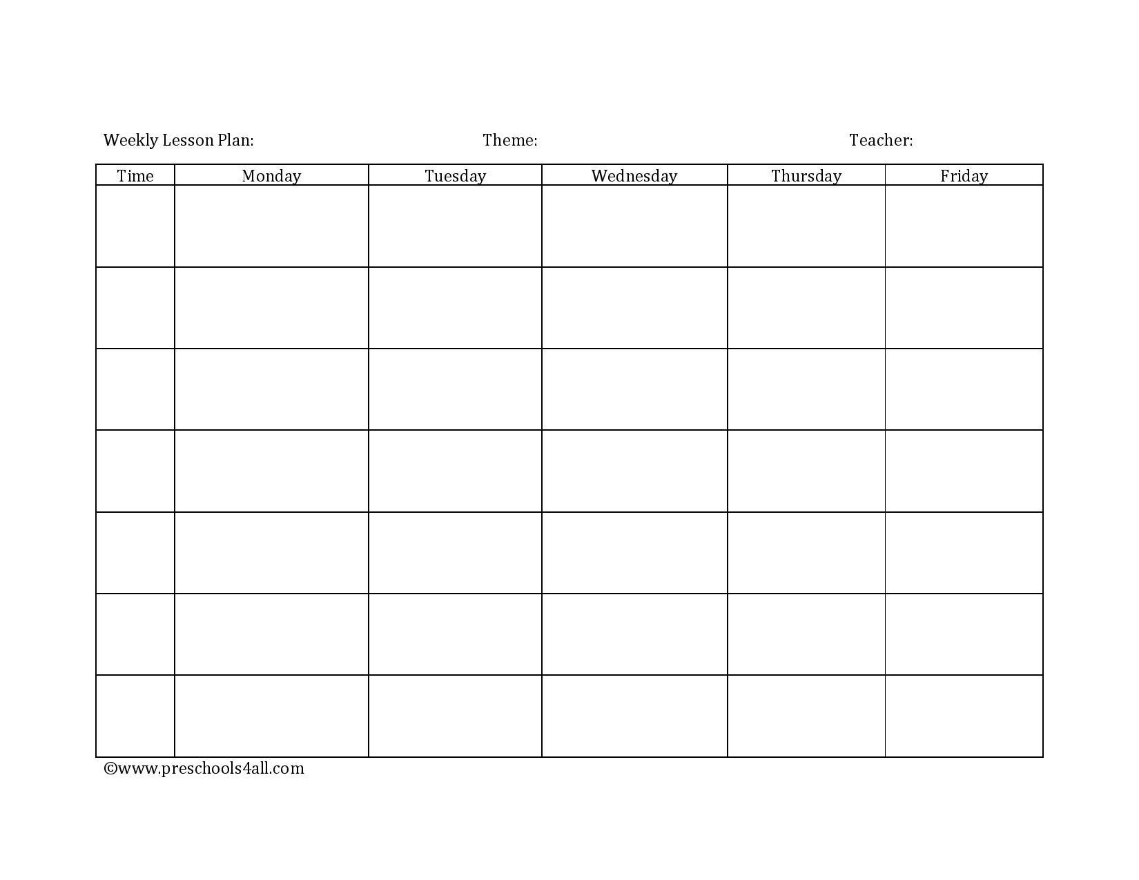 Preschool Lesson Plan Template - Lesson Plan Book Template Lesson Plan Template Weekly Prescool Plannar