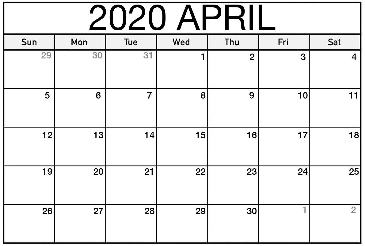 Print Calendar For April 2020 Monthly Fillable Sheets - Set Fillable Calendar For Excercise