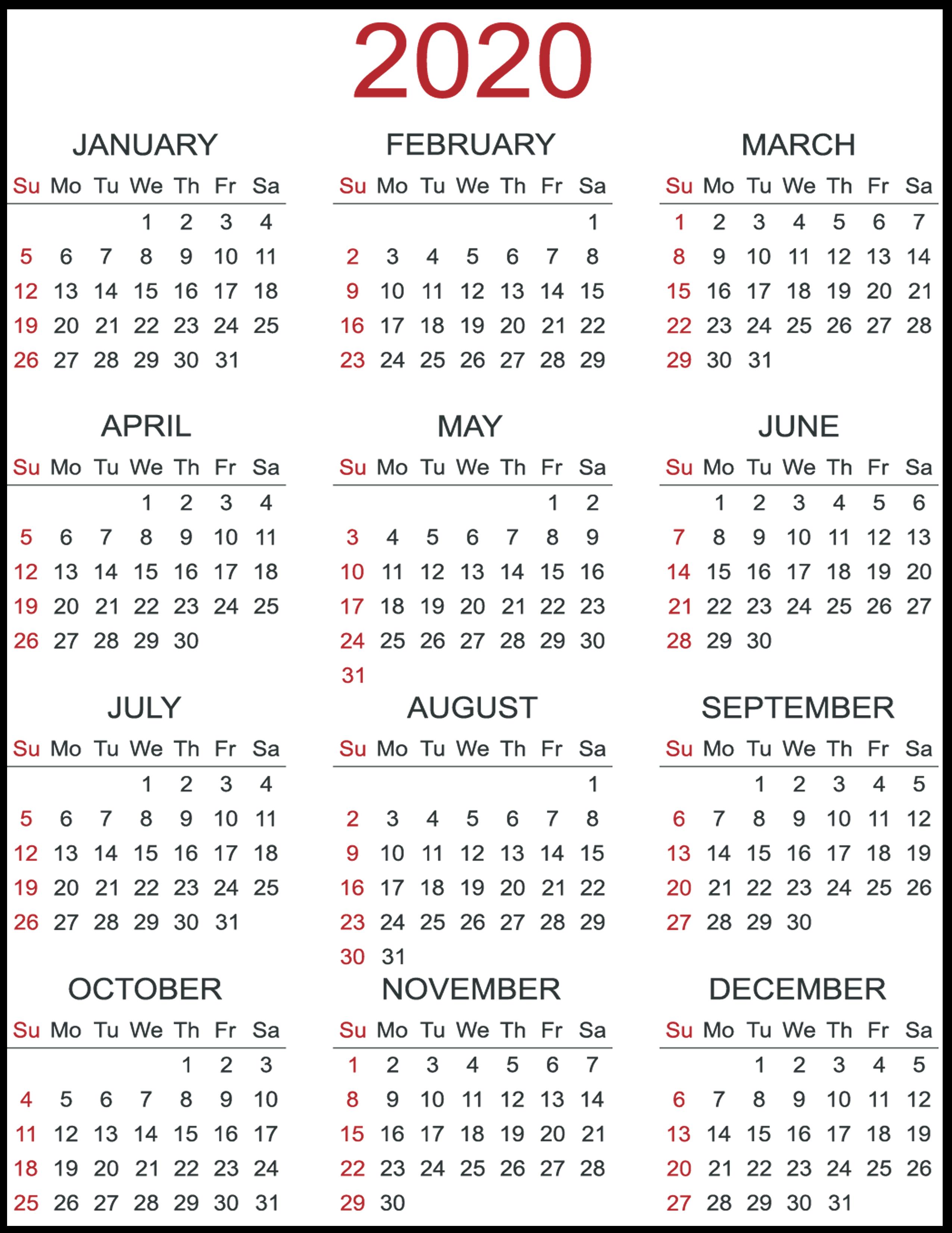 Print Yearly Calendar 2020 Free | Calendar Printables Free 4 Year Printable Calendar